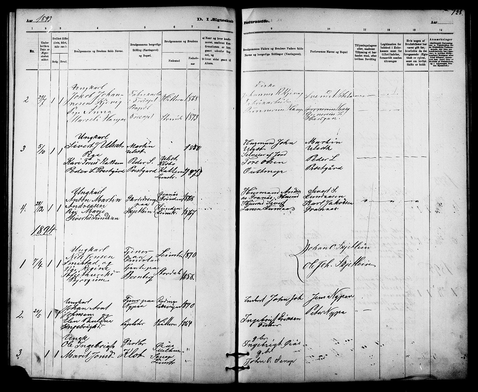SAT, Ministerialprotokoller, klokkerbøker og fødselsregistre - Sør-Trøndelag, 613/L0395: Klokkerbok nr. 613C03, 1887-1909, s. 128