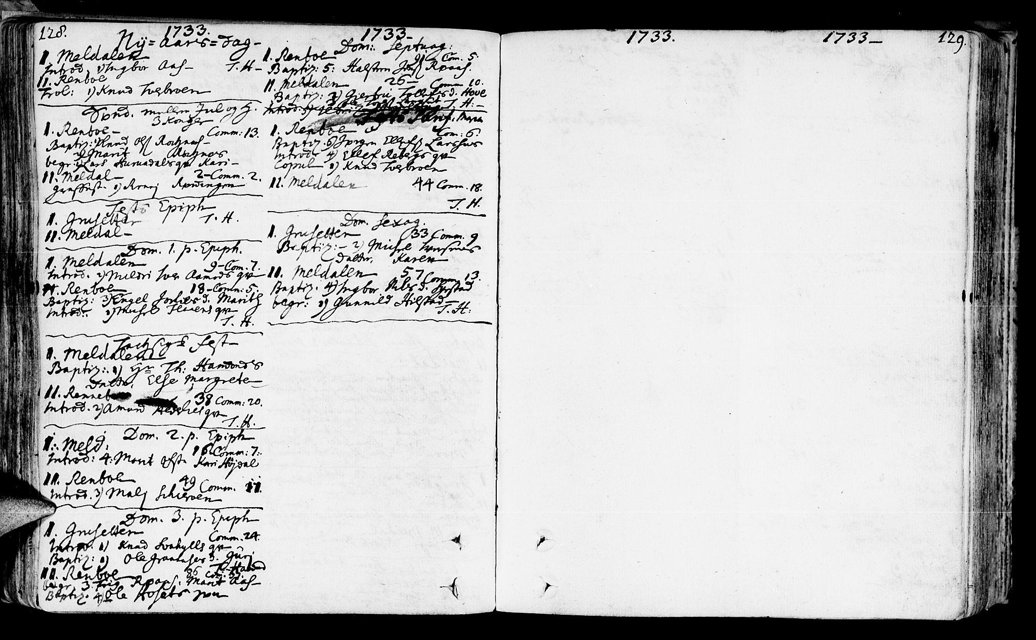 SAT, Ministerialprotokoller, klokkerbøker og fødselsregistre - Sør-Trøndelag, 672/L0850: Ministerialbok nr. 672A03, 1725-1751, s. 128-129