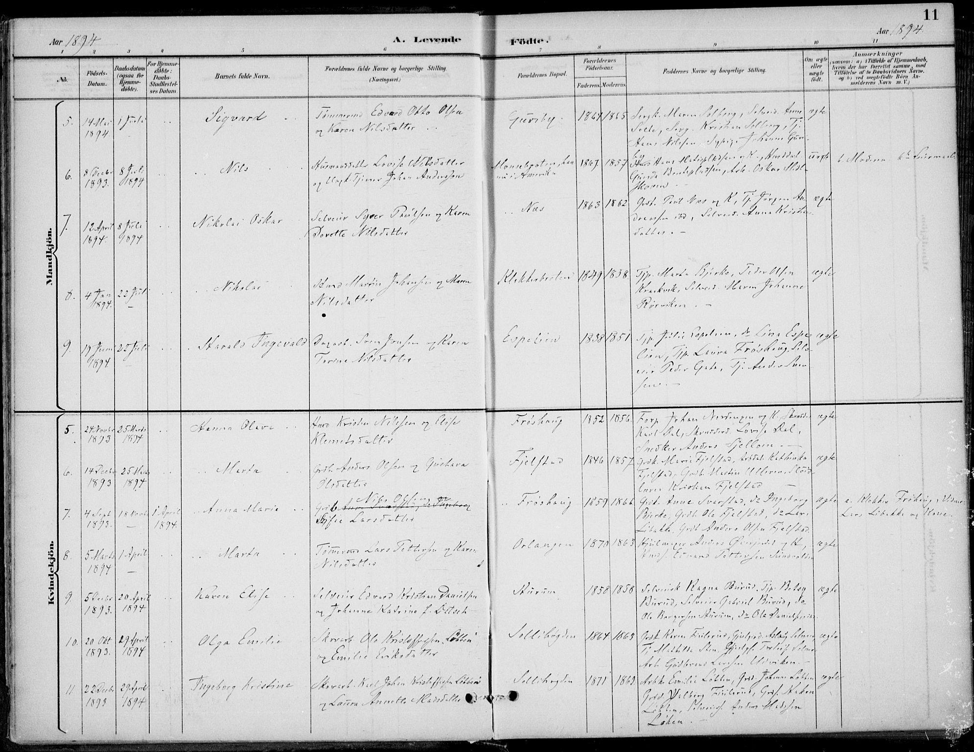 SAKO, Hole kirkebøker, F/Fa/L0009: Ministerialbok nr. I 9, 1892-1907, s. 11