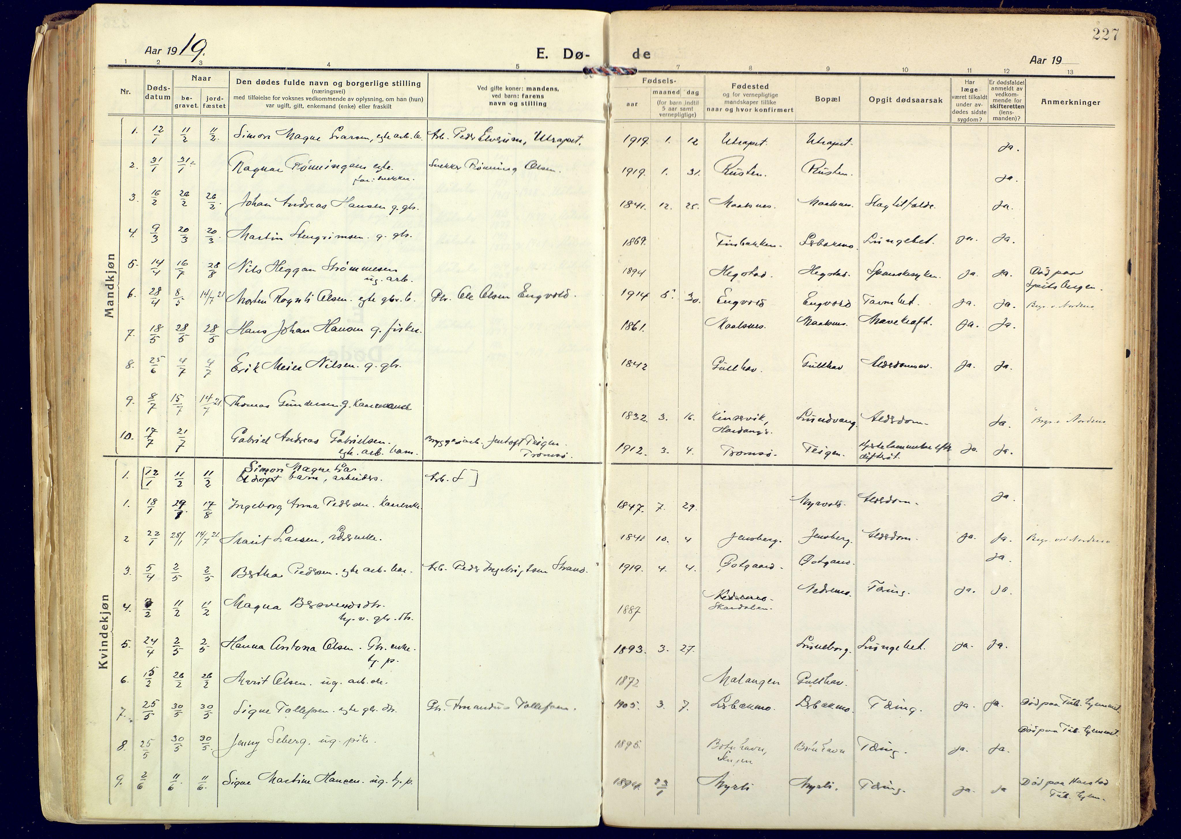 SATØ, Målselv sokneprestembete, Ministerialbok nr. 14, 1919-1932, s. 227