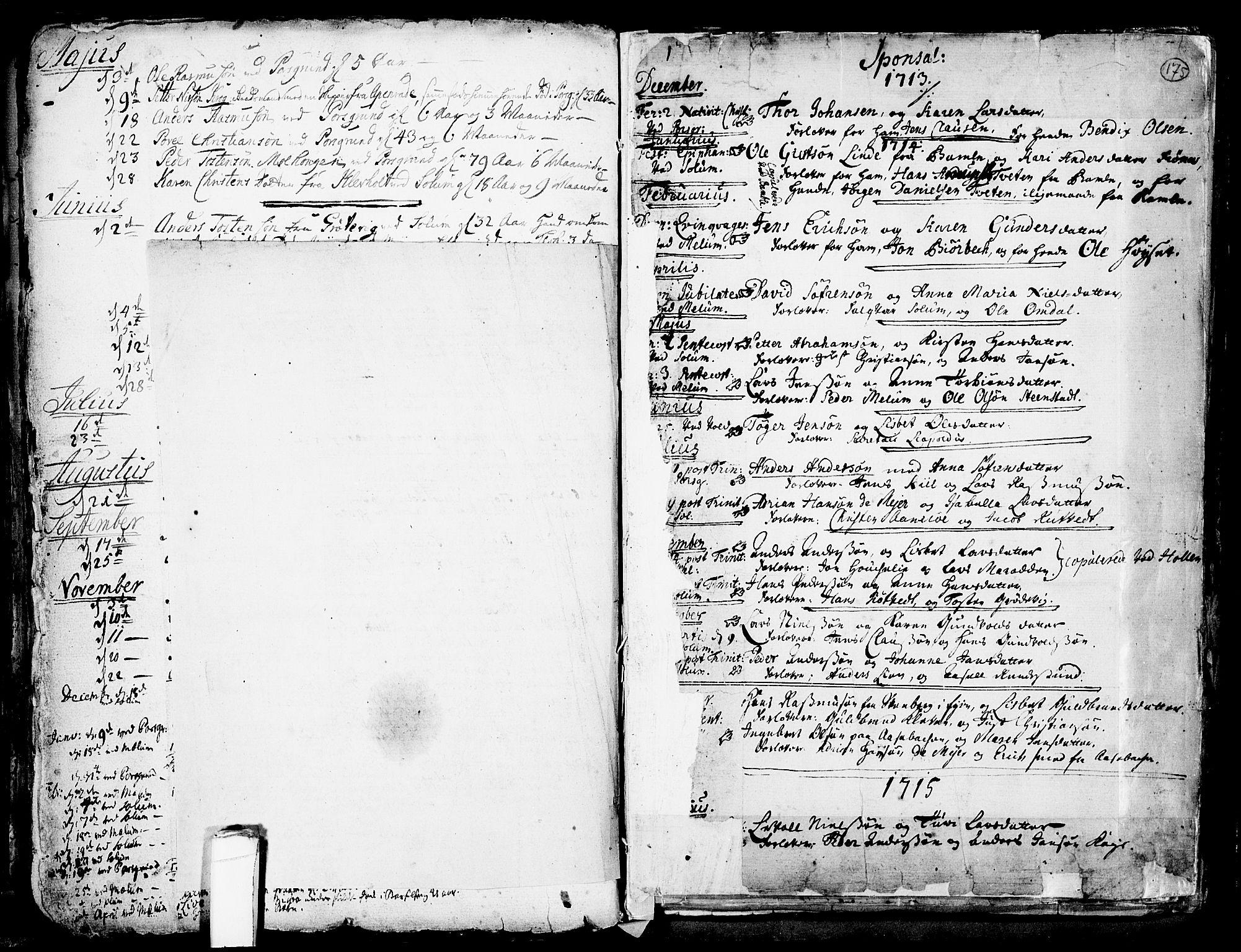 SAKO, Solum kirkebøker, F/Fa/L0002: Ministerialbok nr. I 2, 1713-1761, s. 175