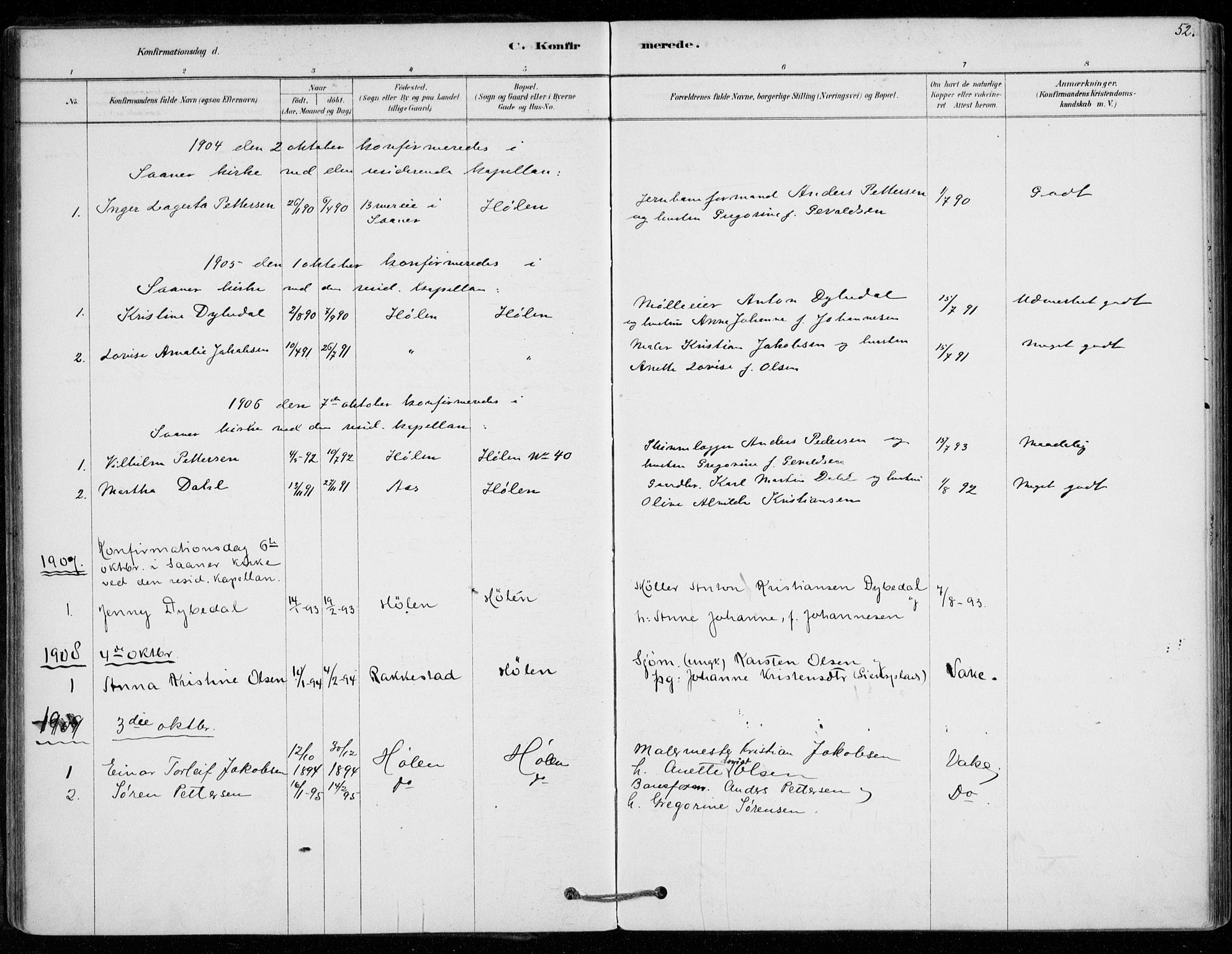 SAO, Vestby prestekontor Kirkebøker, F/Fe/L0001: Ministerialbok nr. V 1, 1878-1931, s. 52