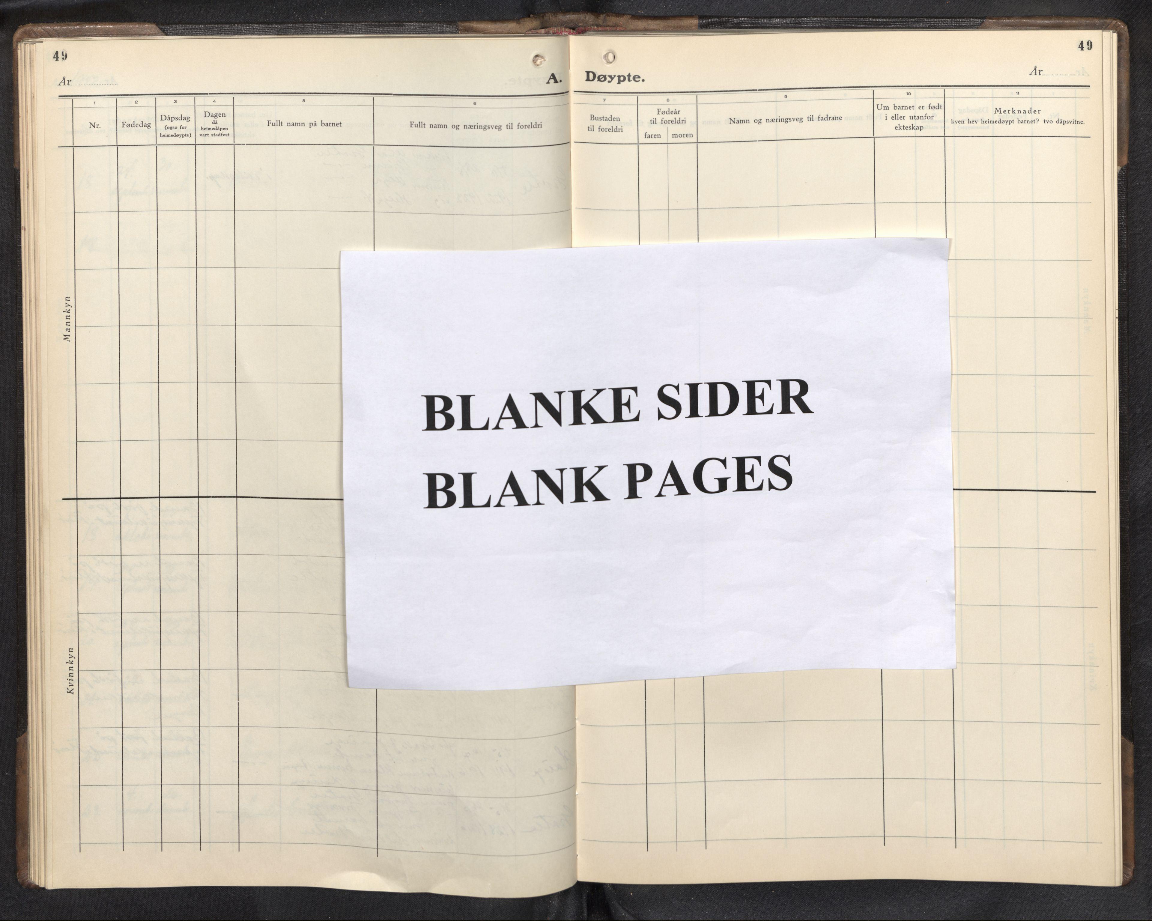 SAB, Bremanger Sokneprestembete, H/Hab: Klokkerbok nr. C 3, 1936-1952, s. 49