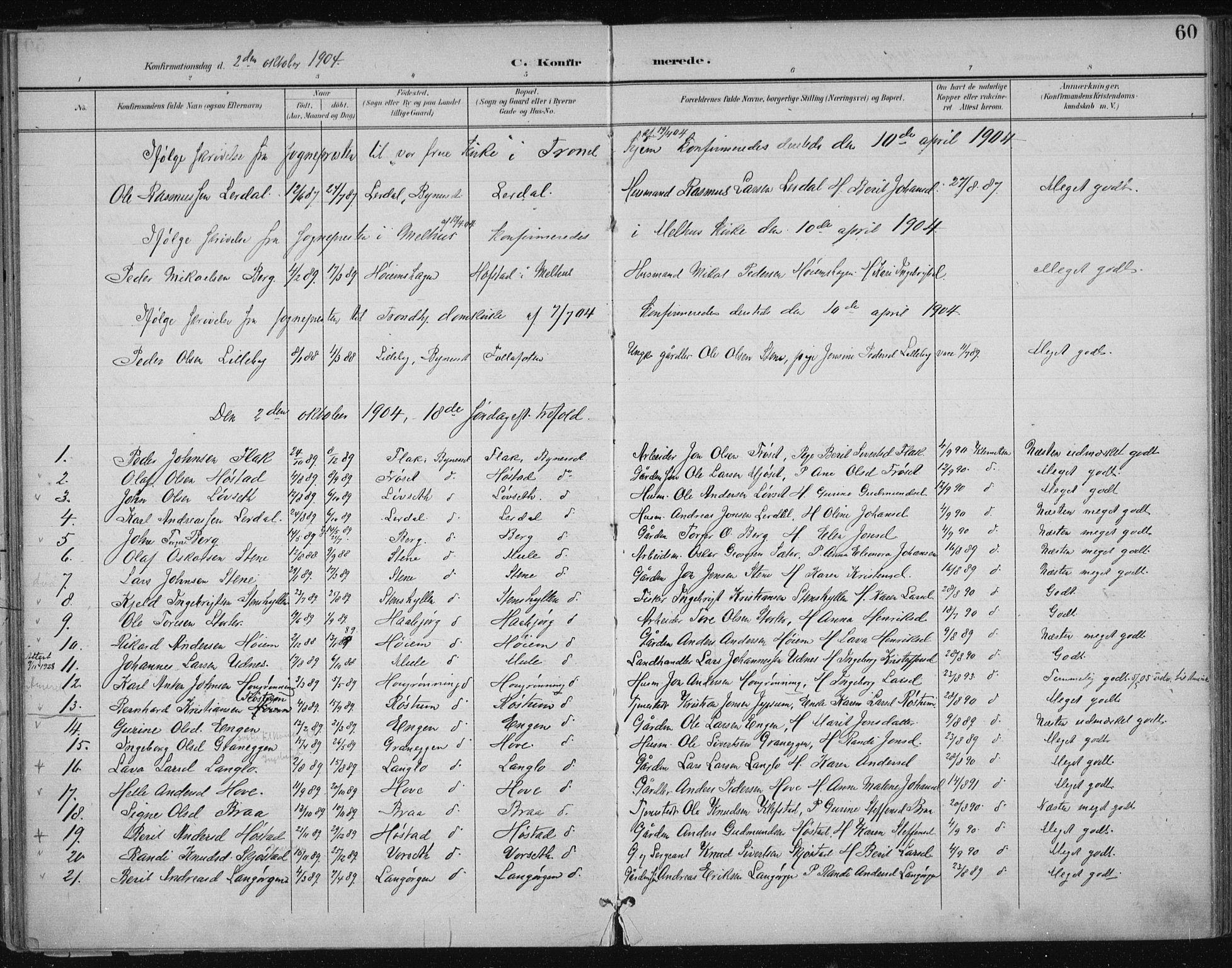 SAT, Ministerialprotokoller, klokkerbøker og fødselsregistre - Sør-Trøndelag, 612/L0380: Ministerialbok nr. 612A12, 1898-1907, s. 60