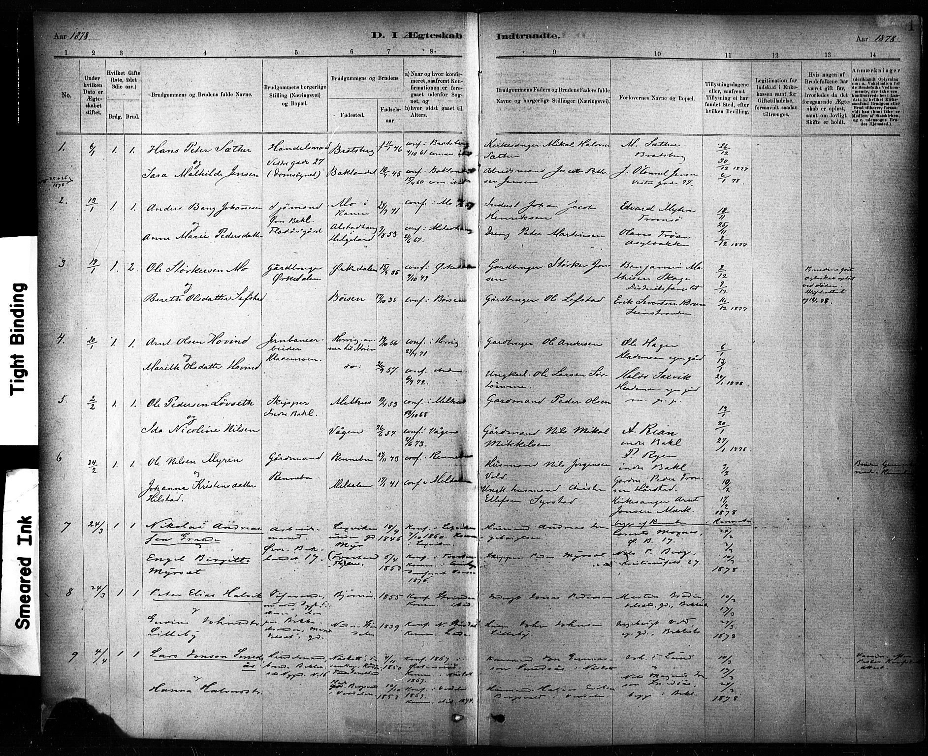 SAT, Ministerialprotokoller, klokkerbøker og fødselsregistre - Sør-Trøndelag, 604/L0189: Ministerialbok nr. 604A10, 1878-1892, s. 1
