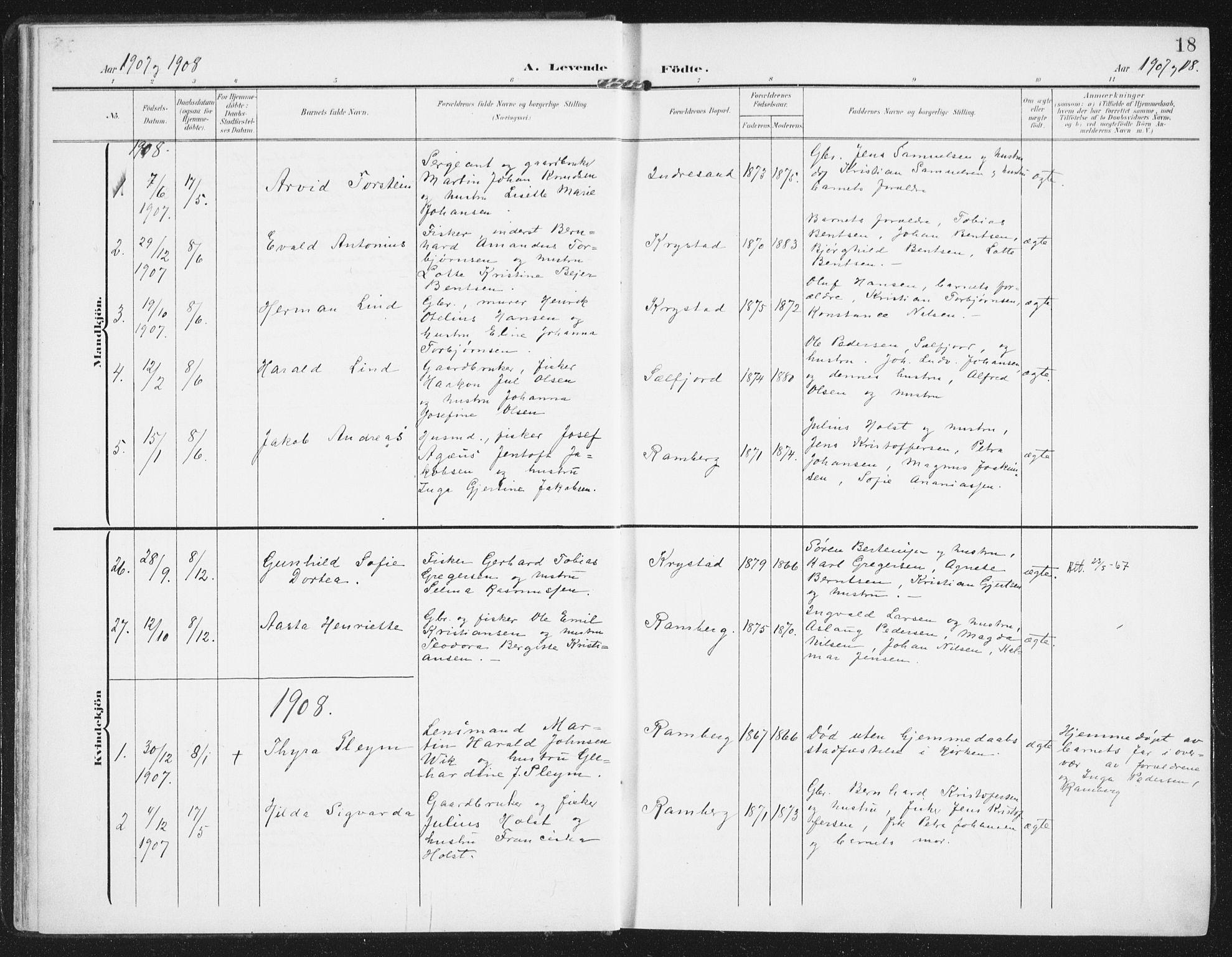 SAT, Ministerialprotokoller, klokkerbøker og fødselsregistre - Nordland, 885/L1206: Ministerialbok nr. 885A07, 1905-1915, s. 18