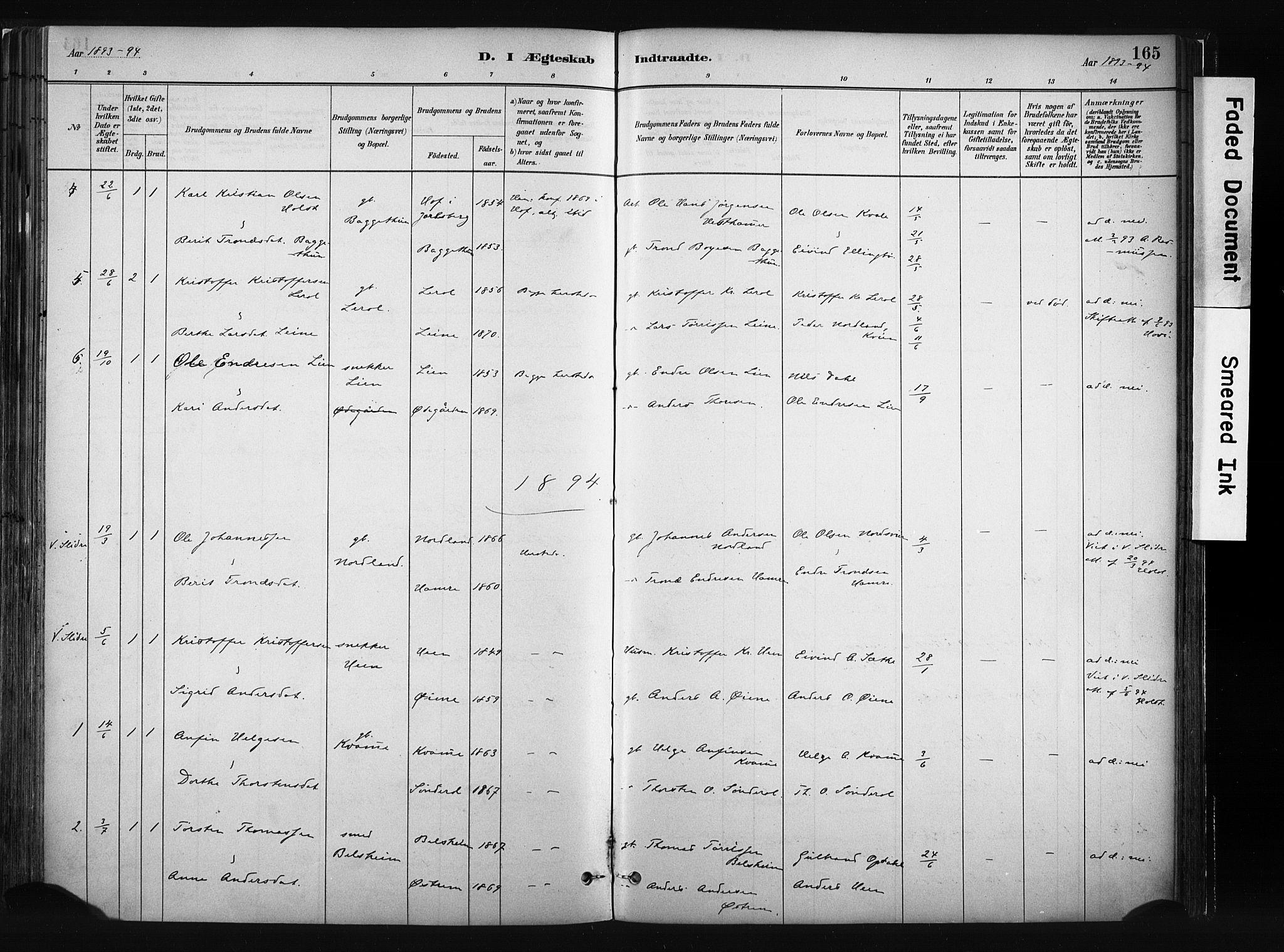 SAH, Vang prestekontor, Valdres, Ministerialbok nr. 8, 1882-1910, s. 165