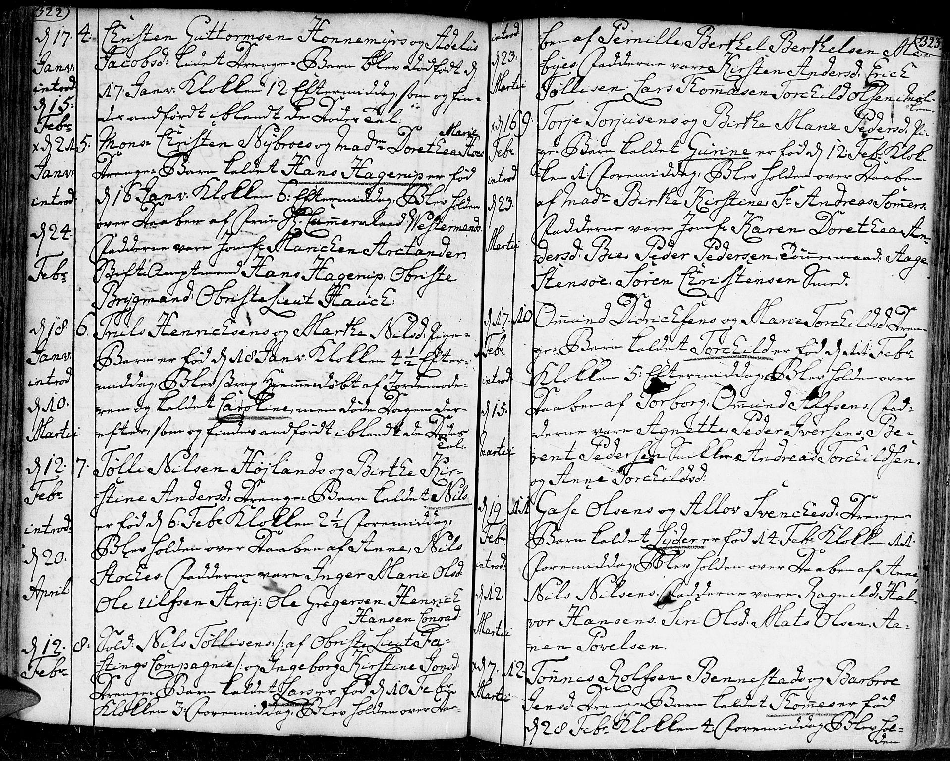 SAK, Kristiansand domprosti, F/Fa/L0002: Ministerialbok nr. A 2, 1755-1778, s. 322-323