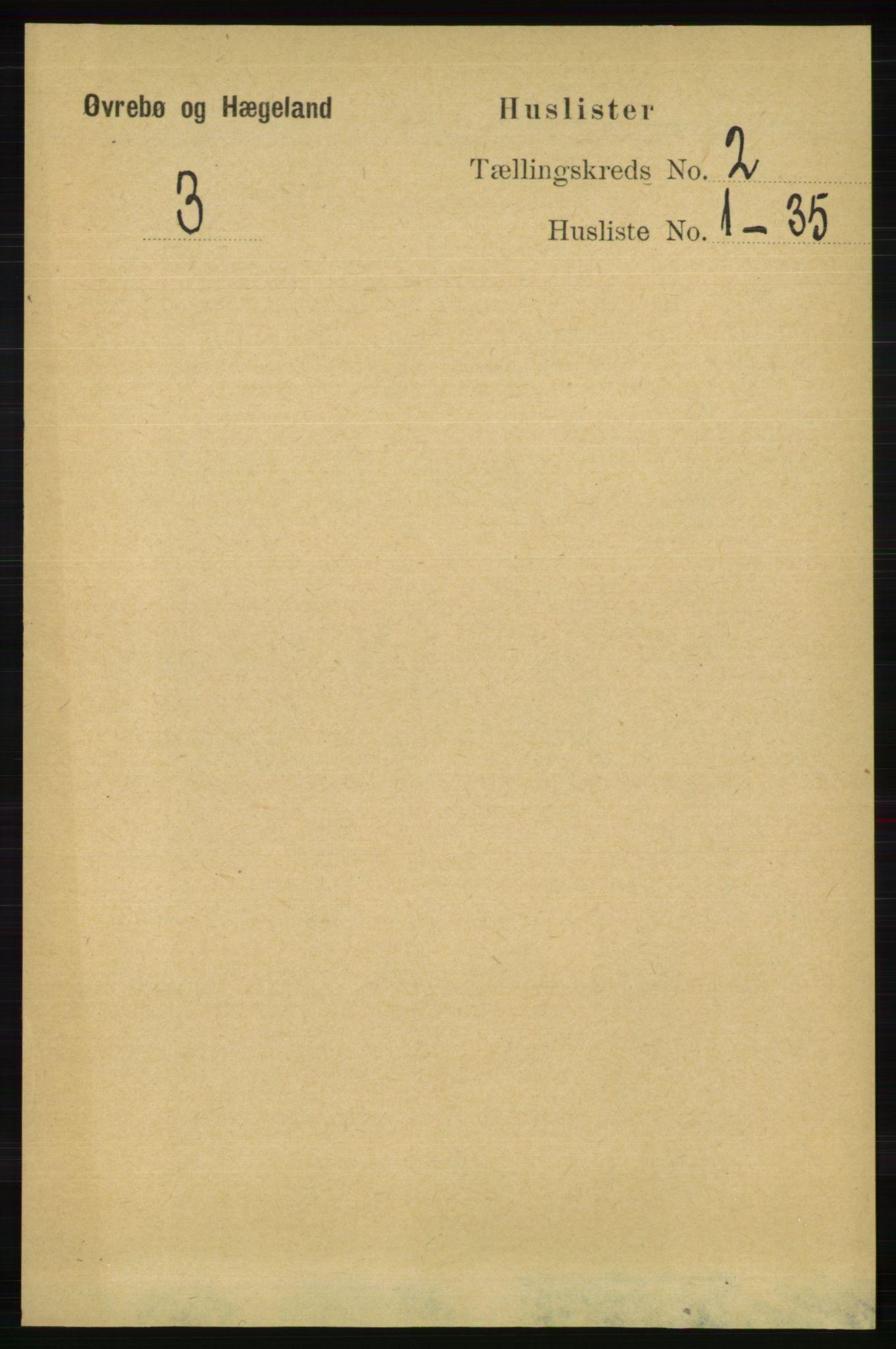 RA, Folketelling 1891 for 1016 Øvrebø og Hægeland herred, 1891, s. 281