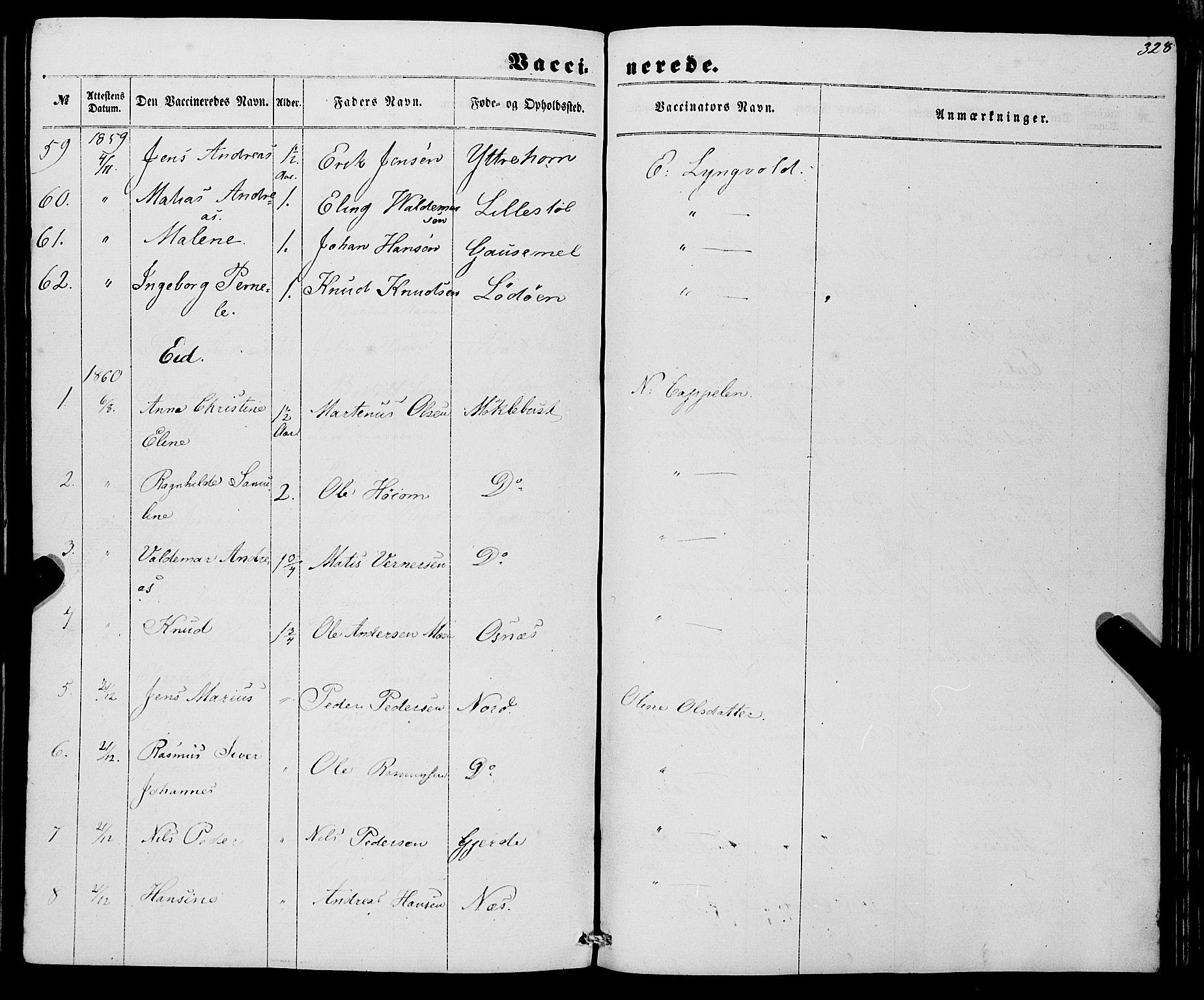 SAB, Eid Sokneprestembete, H/Haa: Ministerialbok nr. A 8, 1858-1860, s. 328