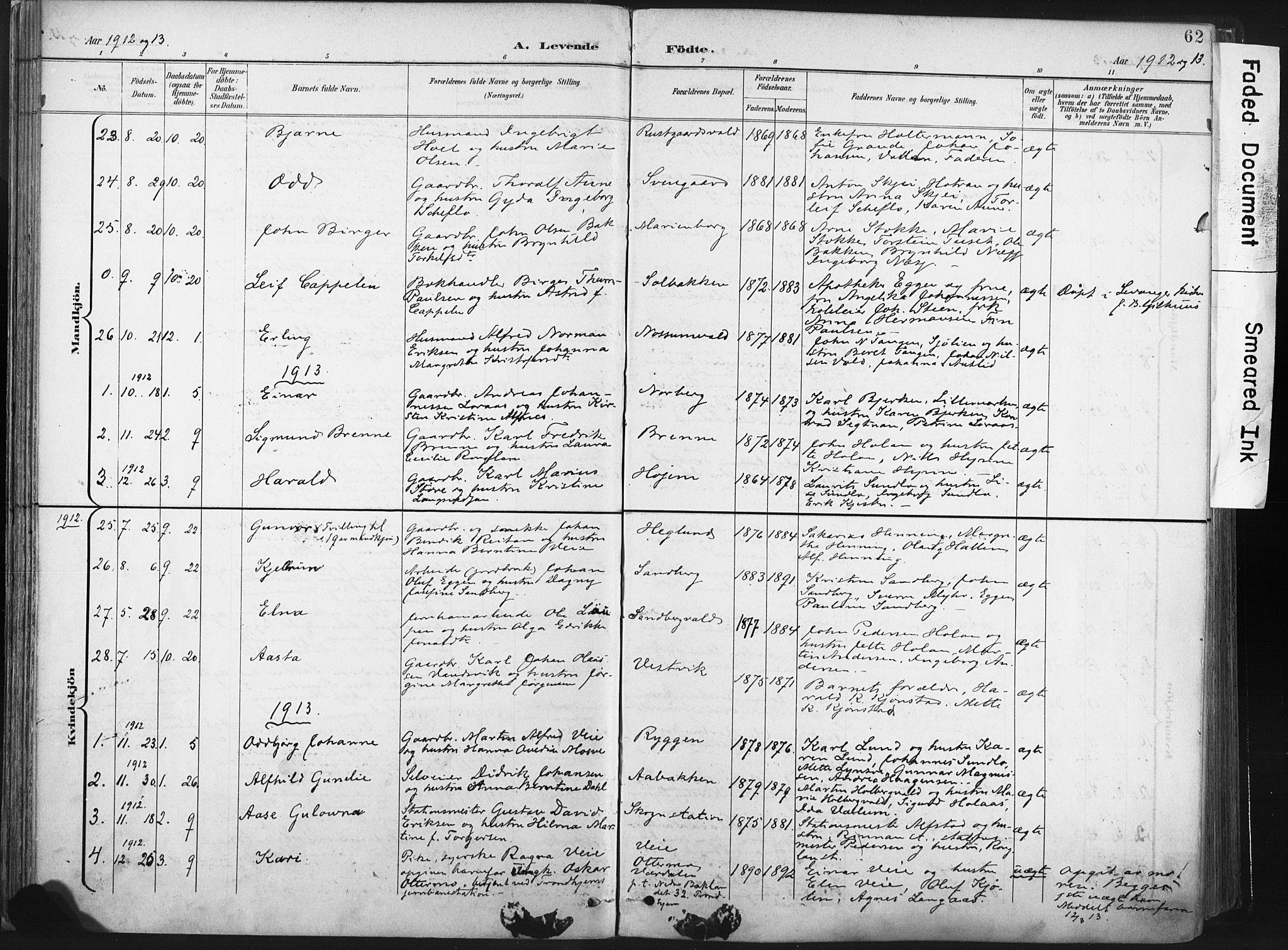 SAT, Ministerialprotokoller, klokkerbøker og fødselsregistre - Nord-Trøndelag, 717/L0162: Ministerialbok nr. 717A12, 1898-1923, s. 62