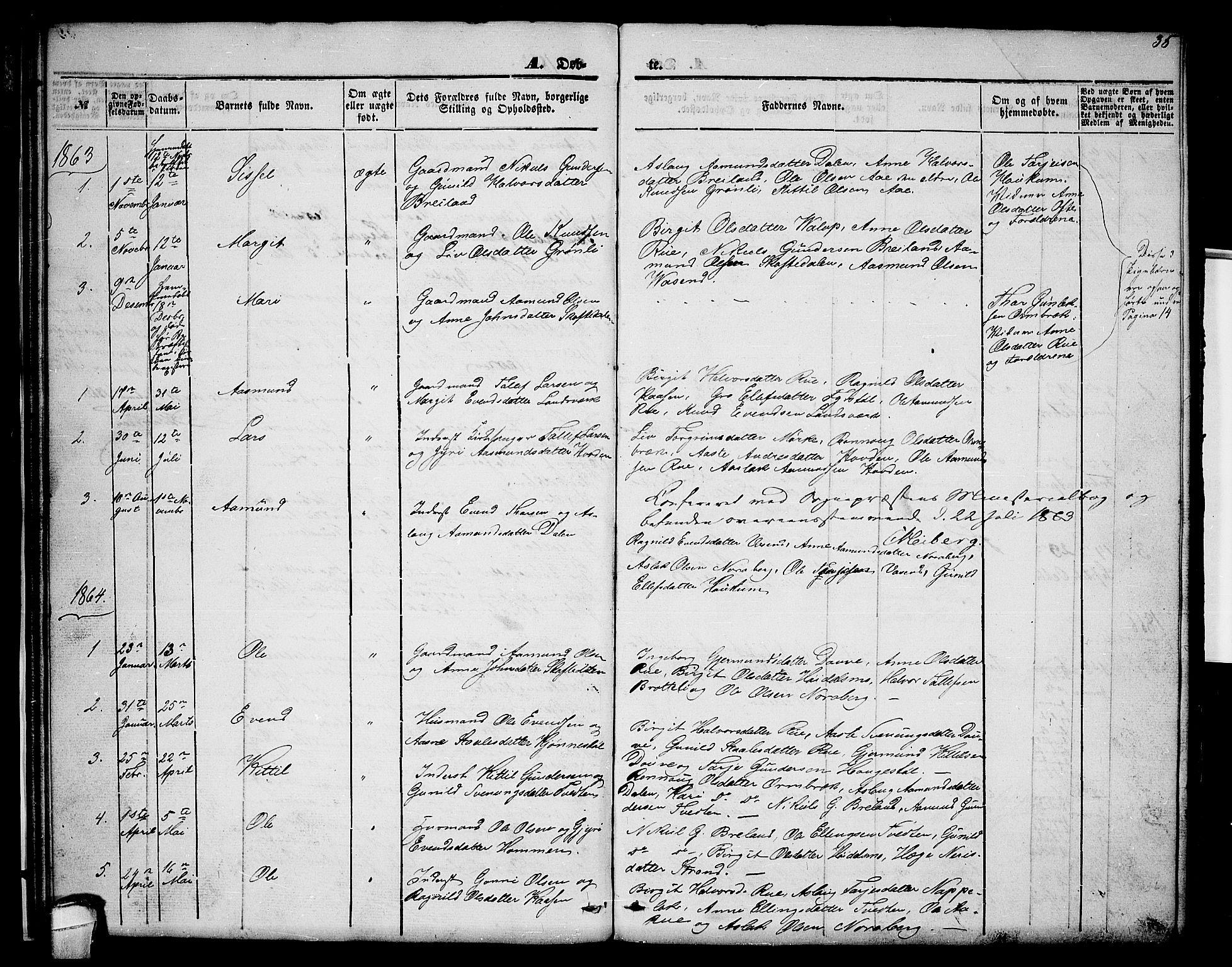 SAKO, Lårdal kirkebøker, G/Gc/L0002: Klokkerbok nr. III 2, 1852-1877, s. 35