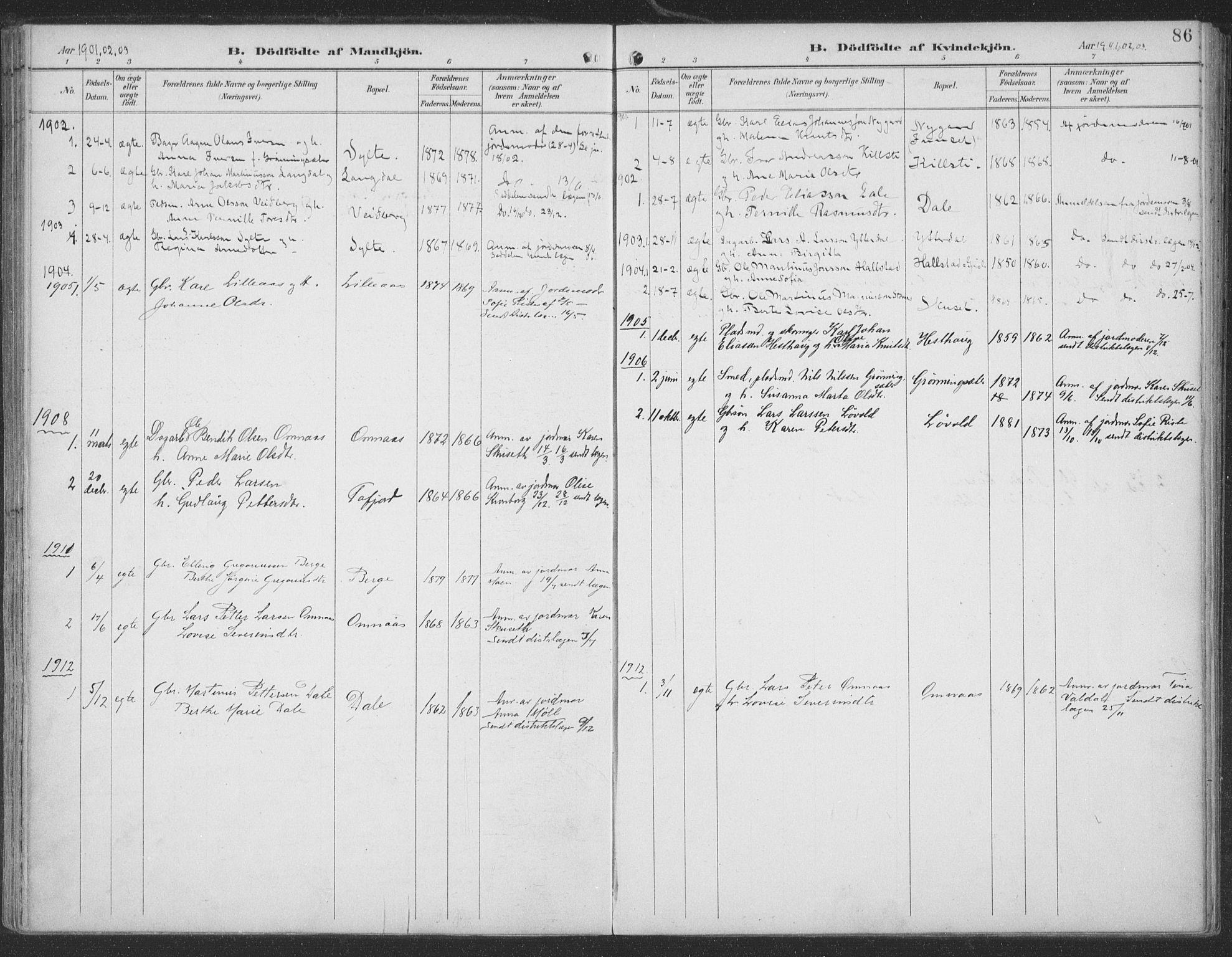 SAT, Ministerialprotokoller, klokkerbøker og fødselsregistre - Møre og Romsdal, 519/L0256: Ministerialbok nr. 519A15, 1895-1912, s. 86