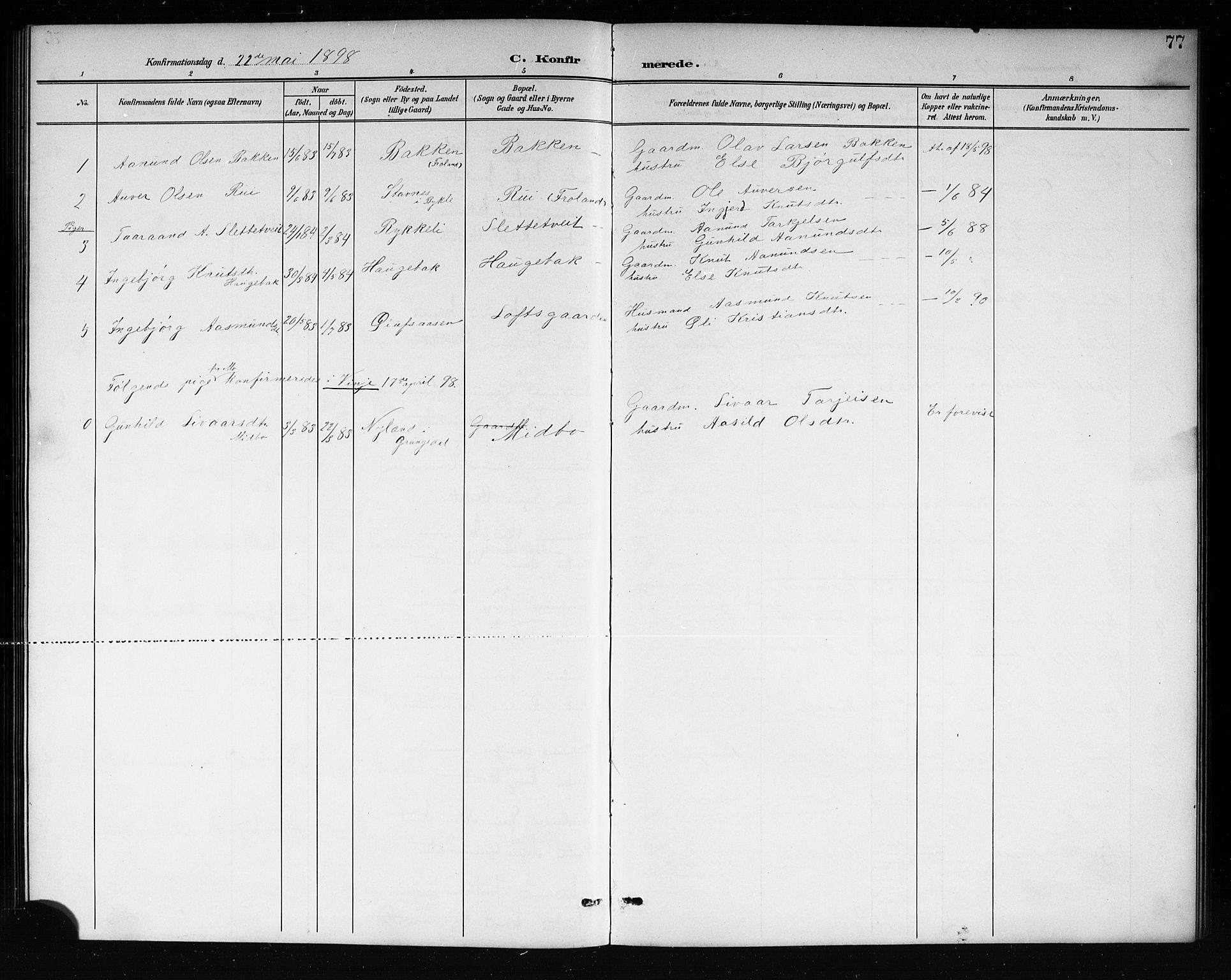 SAKO, Mo kirkebøker, G/Ga/L0002: Klokkerbok nr. I 2, 1892-1914, s. 77