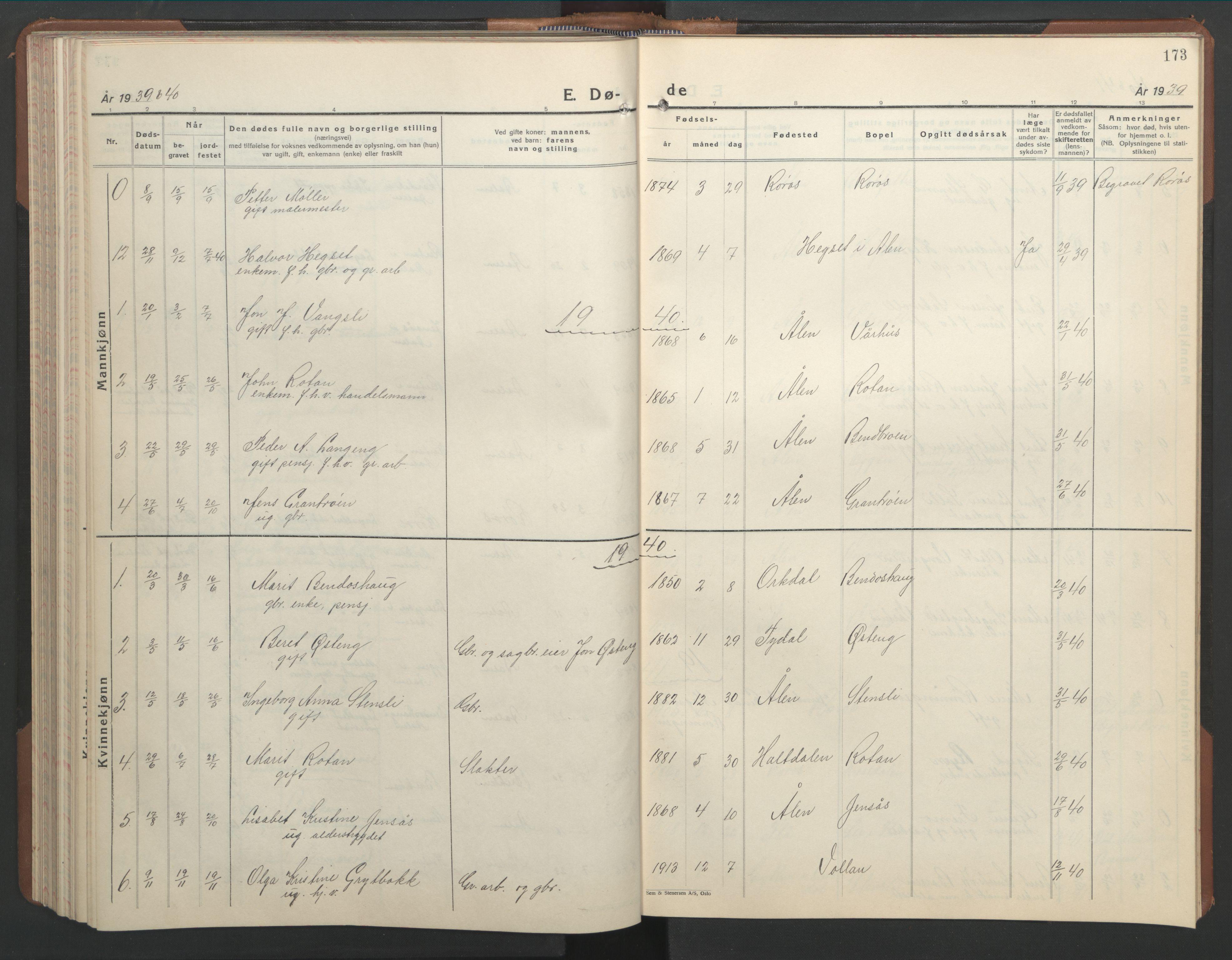 SAT, Ministerialprotokoller, klokkerbøker og fødselsregistre - Sør-Trøndelag, 686/L0986: Klokkerbok nr. 686C02, 1933-1950, s. 173