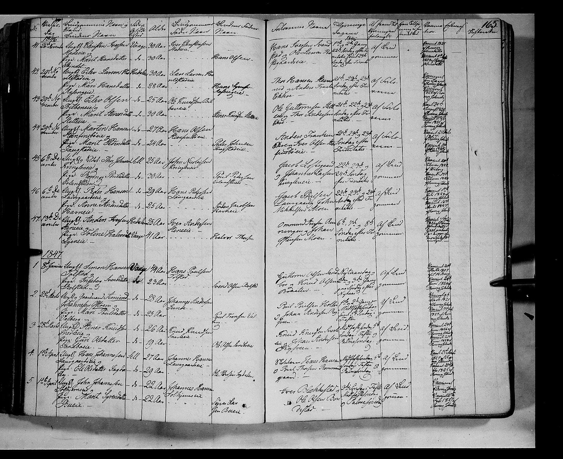 SAH, Vågå prestekontor, Ministerialbok nr. 5 /1, 1842-1856, s. 165