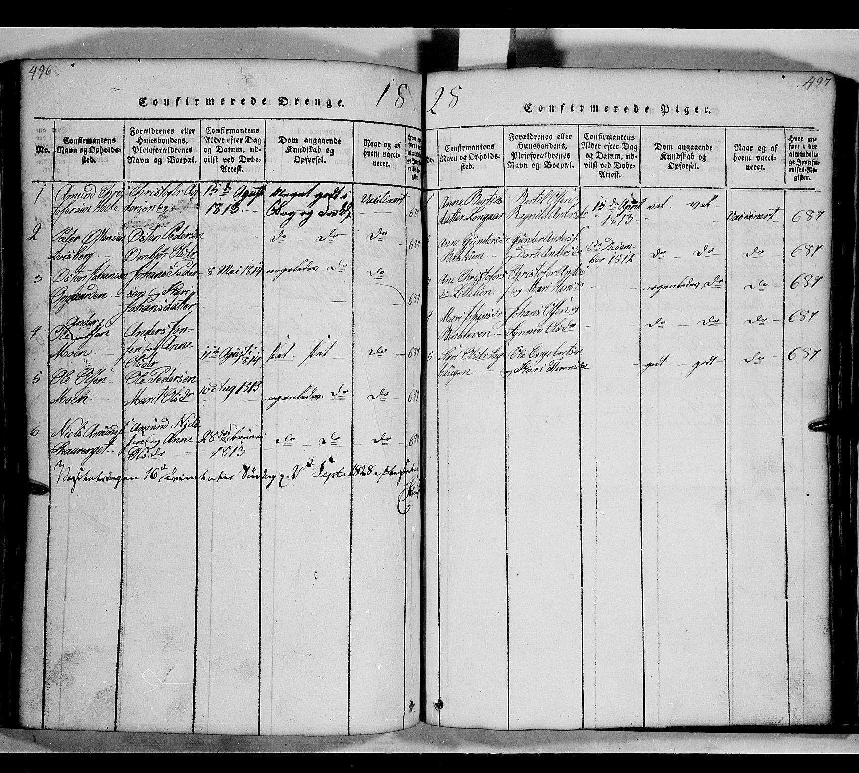SAH, Gausdal prestekontor, Klokkerbok nr. 2, 1818-1874, s. 496-497