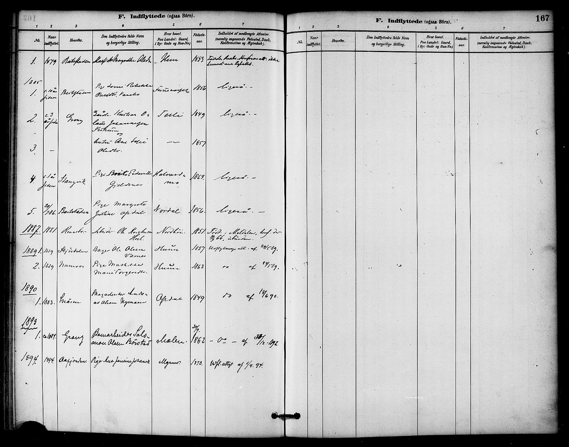 SAT, Ministerialprotokoller, klokkerbøker og fødselsregistre - Nord-Trøndelag, 766/L0563: Ministerialbok nr. 767A01, 1881-1899, s. 167