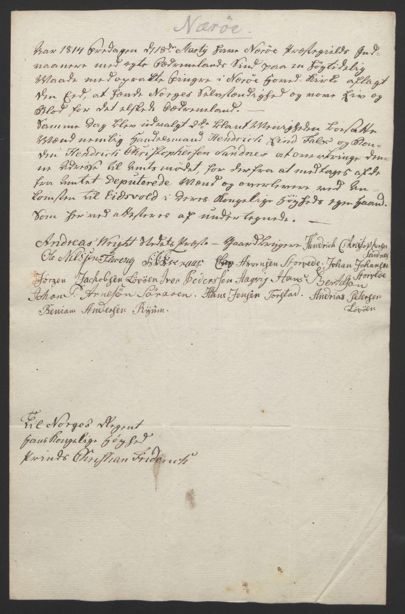 RA, Statsrådssekretariatet, D/Db/L0008: Fullmakter for Eidsvollsrepresentantene i 1814. , 1814, s. 472