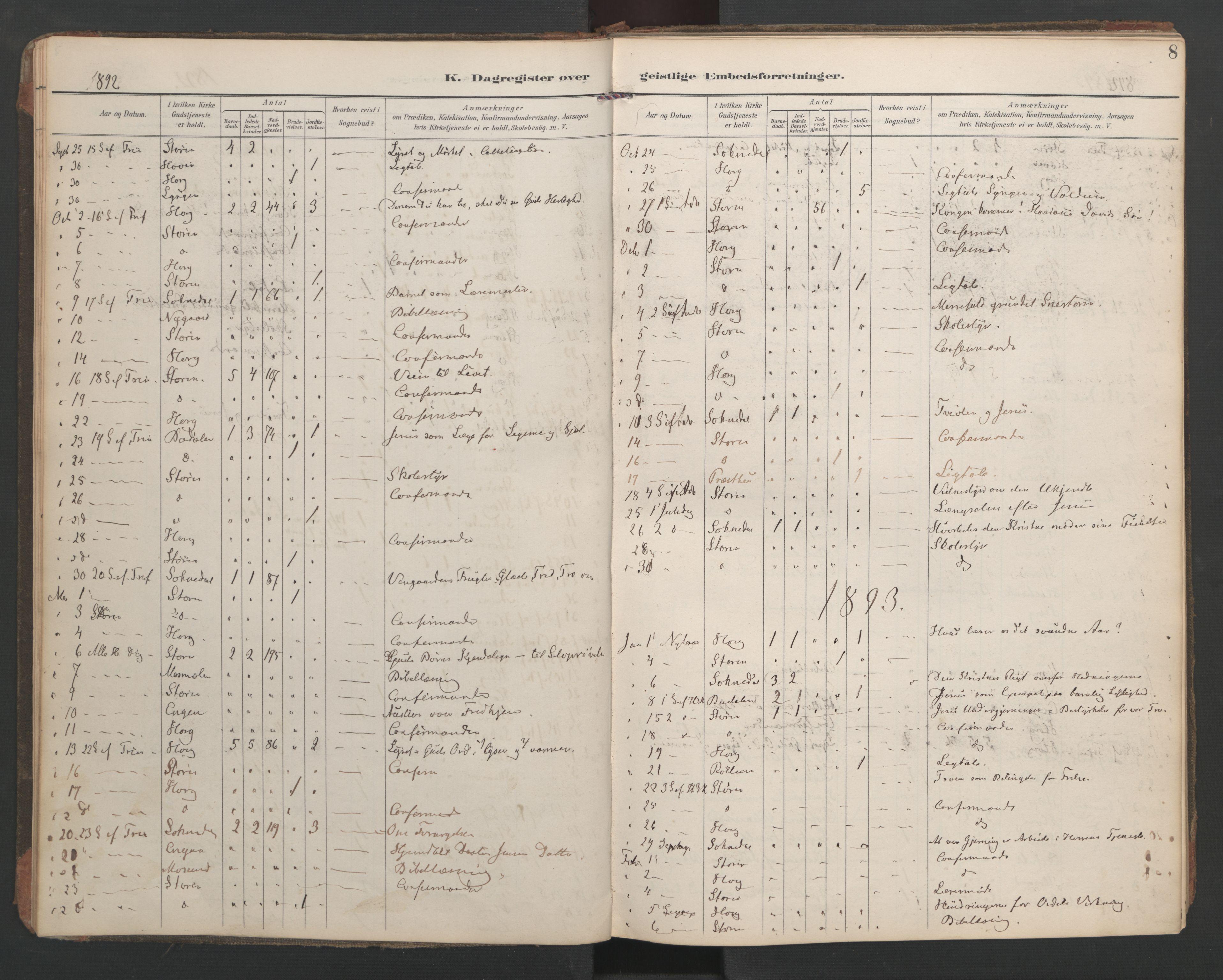 SAT, Ministerialprotokoller, klokkerbøker og fødselsregistre - Sør-Trøndelag, 687/L1005: Dagregister nr. 687A11, 1891-1912, s. 8
