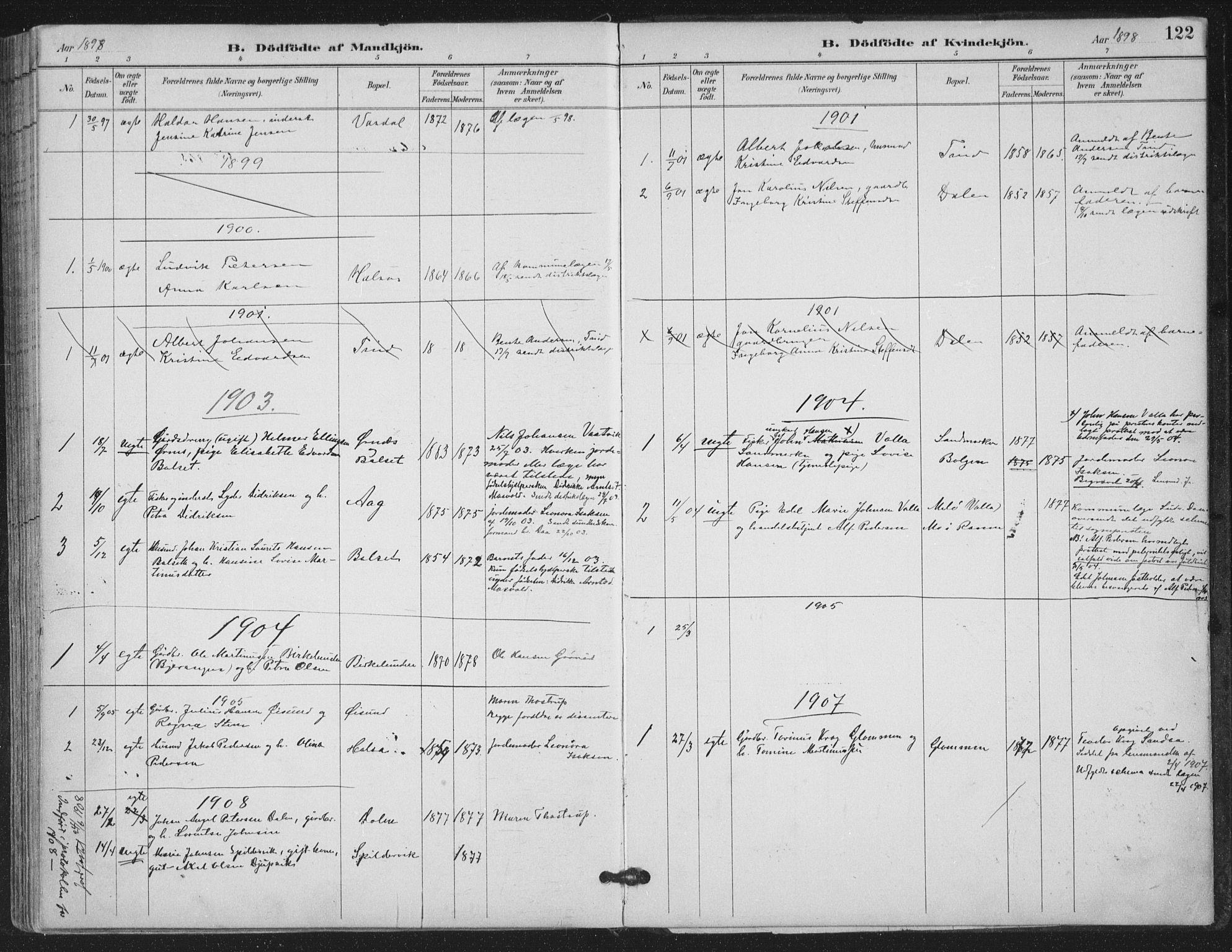 SAT, Ministerialprotokoller, klokkerbøker og fødselsregistre - Nordland, 843/L0628: Ministerialbok nr. 843A03, 1889-1907, s. 122