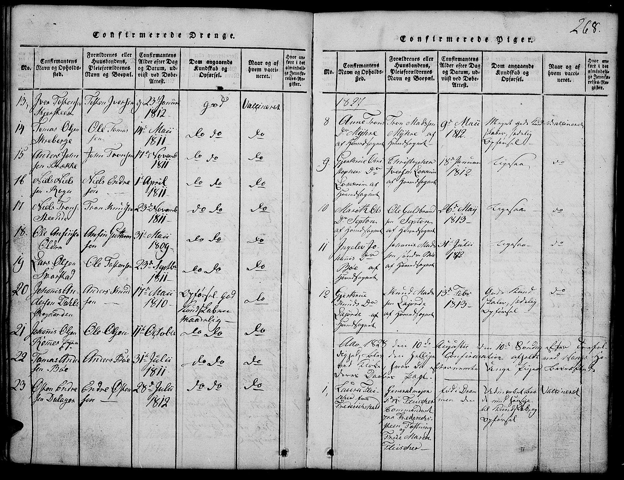 SAH, Vang prestekontor, Valdres, Klokkerbok nr. 2, 1814-1889, s. 268