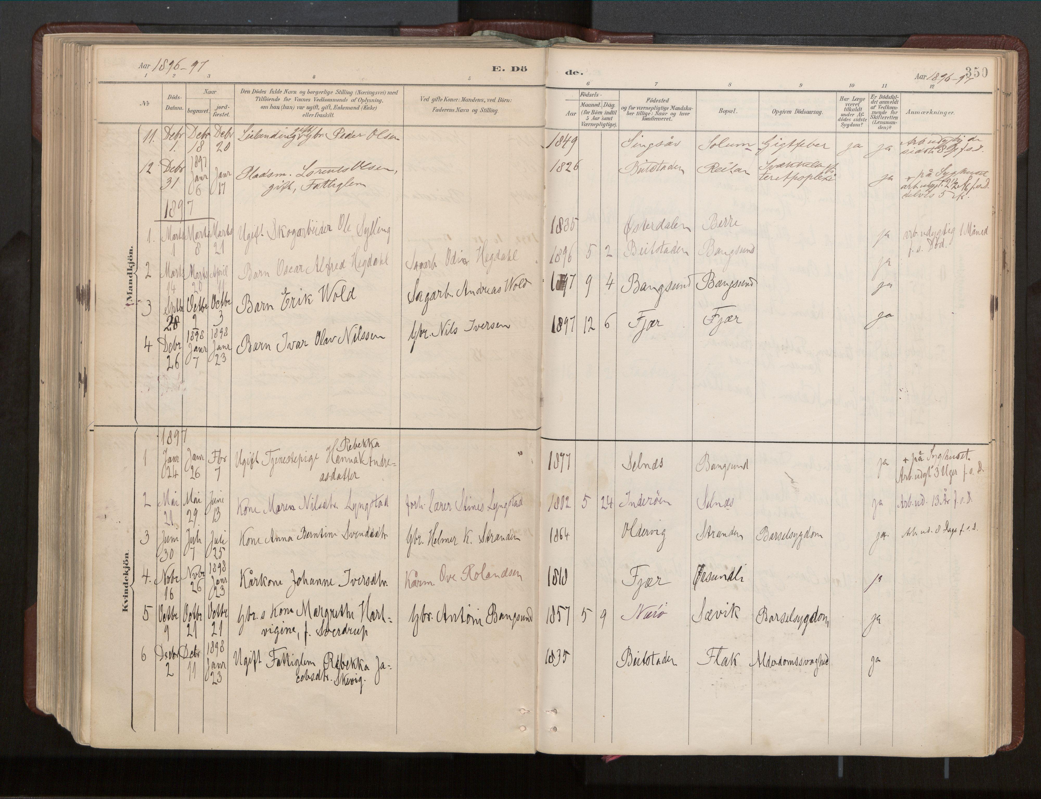 SAT, Ministerialprotokoller, klokkerbøker og fødselsregistre - Nord-Trøndelag, 770/L0589: Ministerialbok nr. 770A03, 1887-1929, s. 350