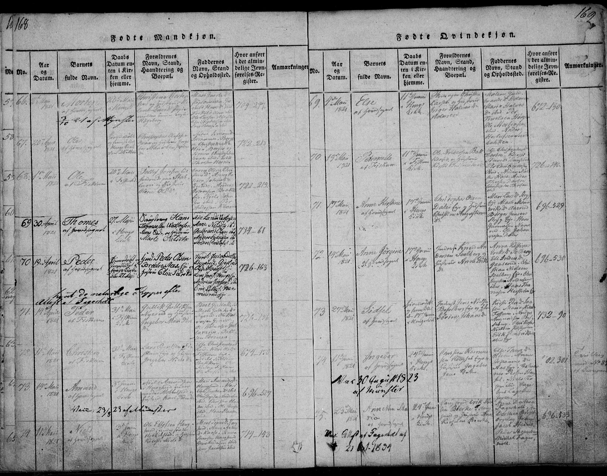SAKO, Eiker kirkebøker, F/Fa/L0011: Ministerialbok nr. I 11, 1814-1827, s. 168-169