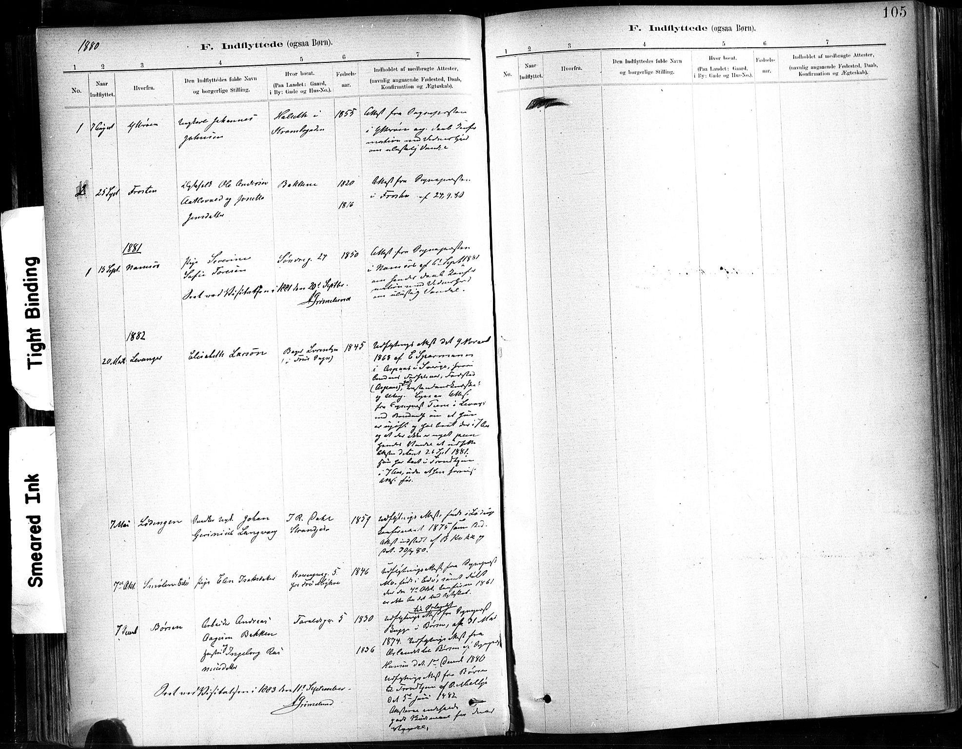 SAT, Ministerialprotokoller, klokkerbøker og fødselsregistre - Sør-Trøndelag, 602/L0120: Ministerialbok nr. 602A18, 1880-1913, s. 105