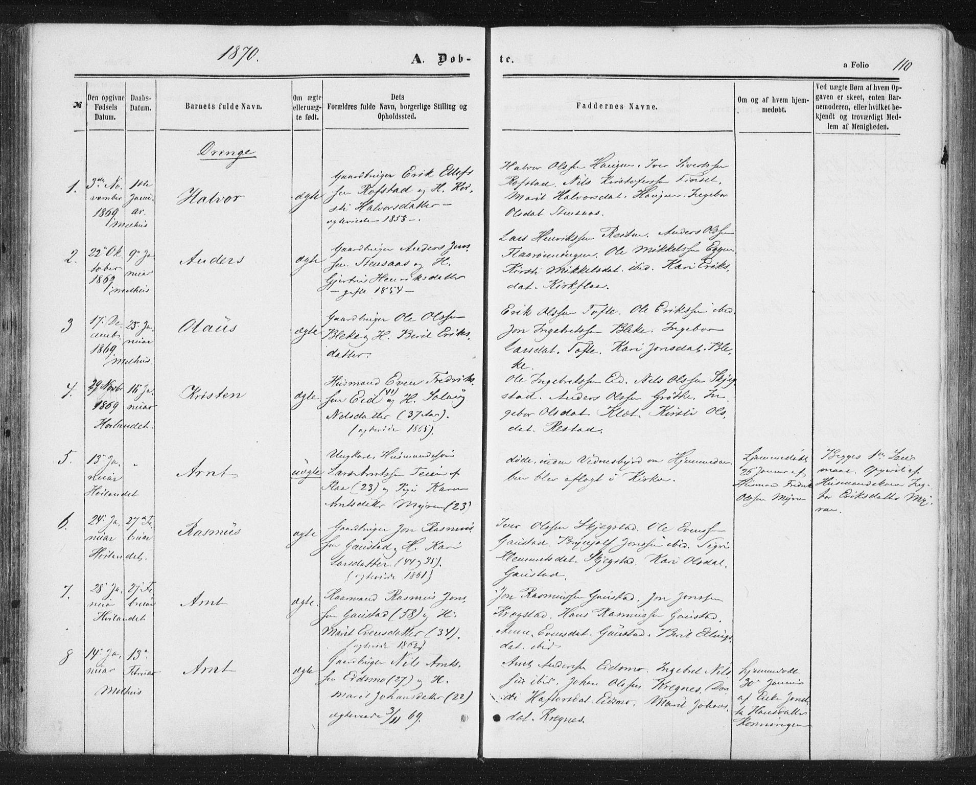 SAT, Ministerialprotokoller, klokkerbøker og fødselsregistre - Sør-Trøndelag, 691/L1077: Ministerialbok nr. 691A09, 1862-1873, s. 110