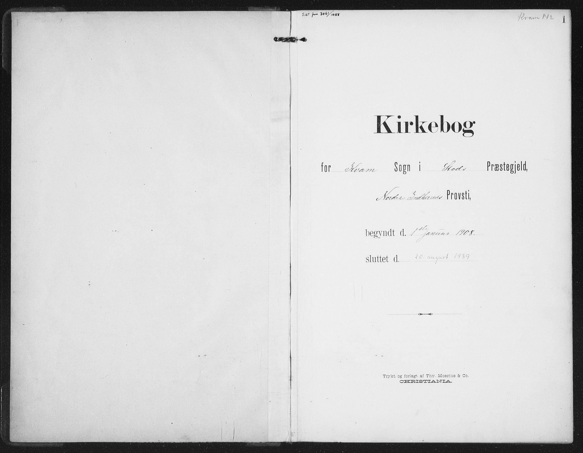 SAT, Ministerialprotokoller, klokkerbøker og fødselsregistre - Nord-Trøndelag, 747/L0460: Klokkerbok nr. 747C02, 1908-1939, s. 1