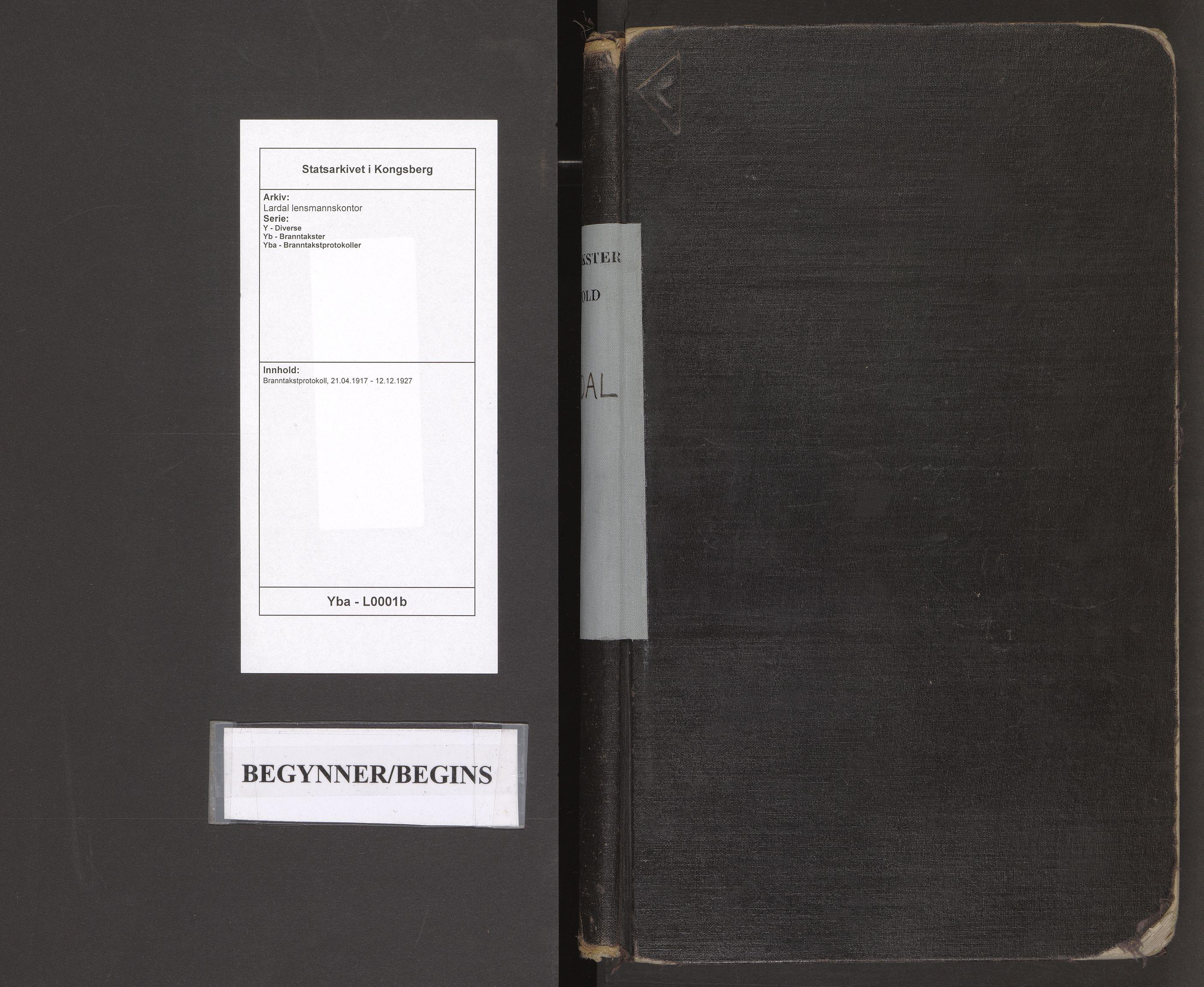 SAKO, Lardal lensmannskontor, Y/Yb/Yba/L0001b: Branntakstprotokoll, 1917-1927