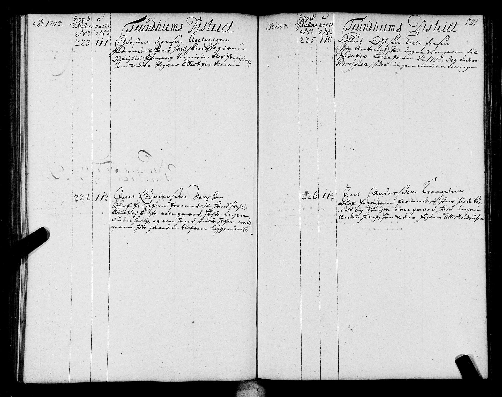 SAT, Sjøinnrulleringen - Trondhjemske distrikt, 01/L0004: Ruller over sjøfolk i Trondhjem by, 1704-1710, s. 201