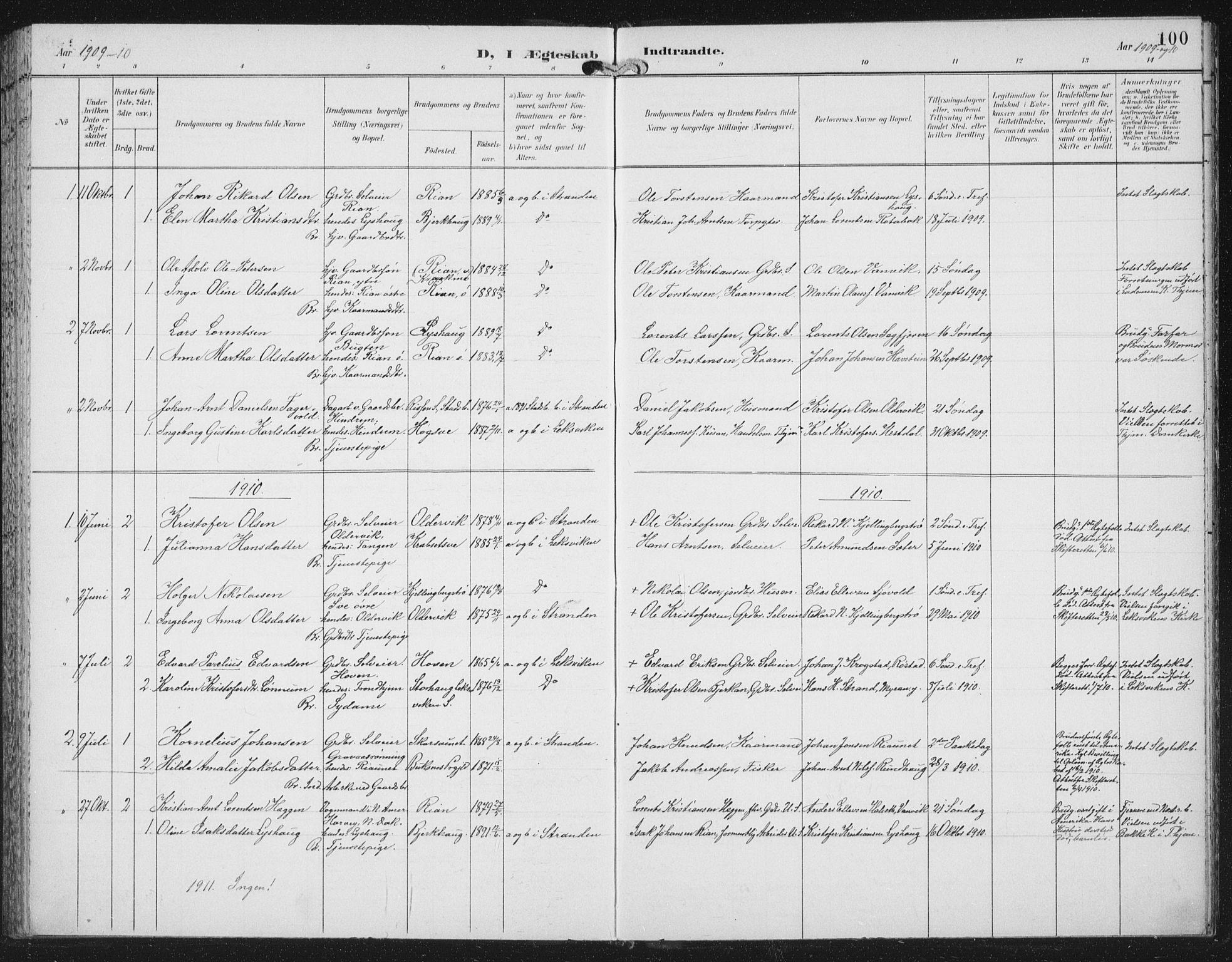 SAT, Ministerialprotokoller, klokkerbøker og fødselsregistre - Nord-Trøndelag, 702/L0024: Ministerialbok nr. 702A02, 1898-1914, s. 100