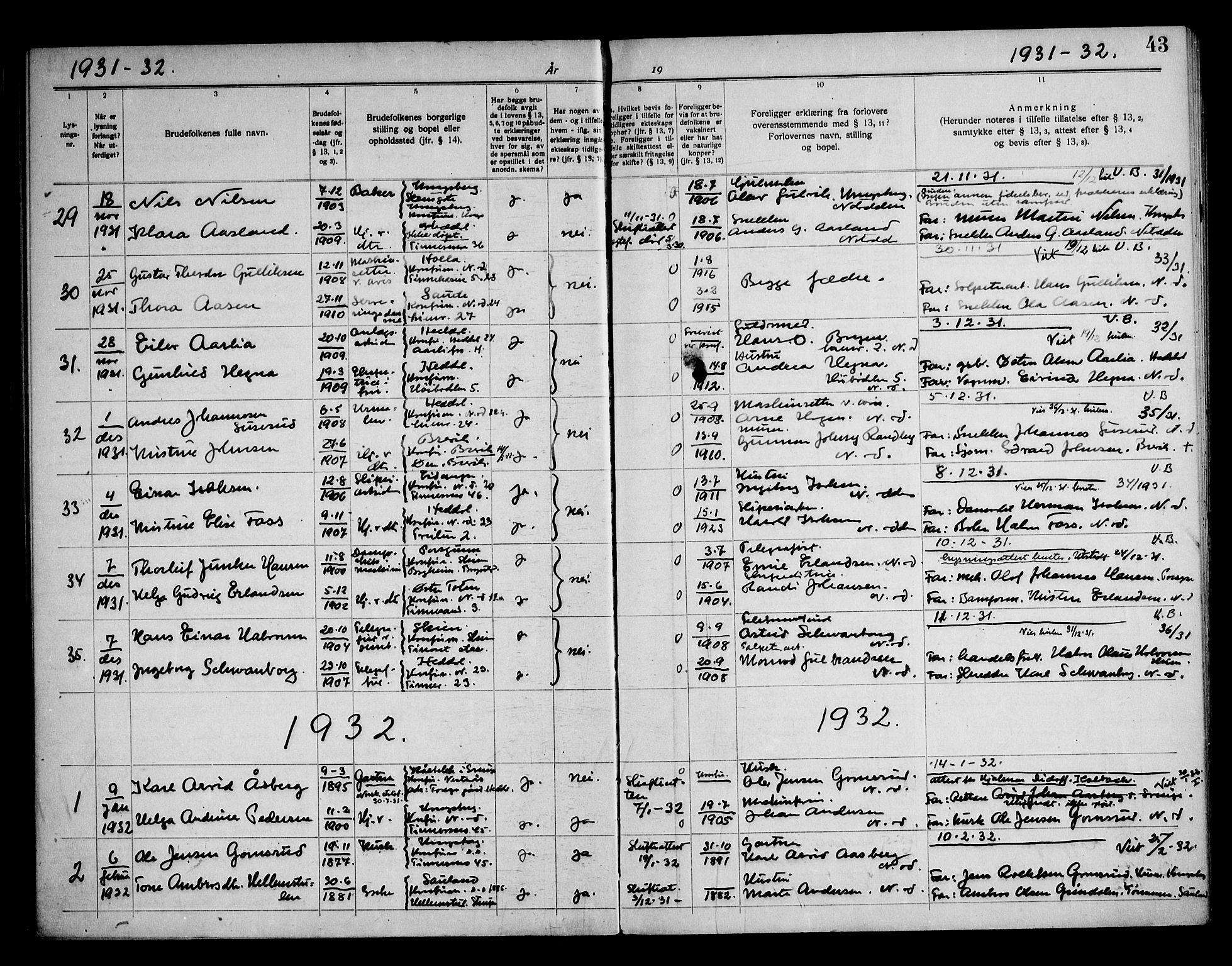 SAKO, Notodden kirkebøker, H/Ha/L0001: Lysningsprotokoll nr. 1, 1919-1945, s. 43