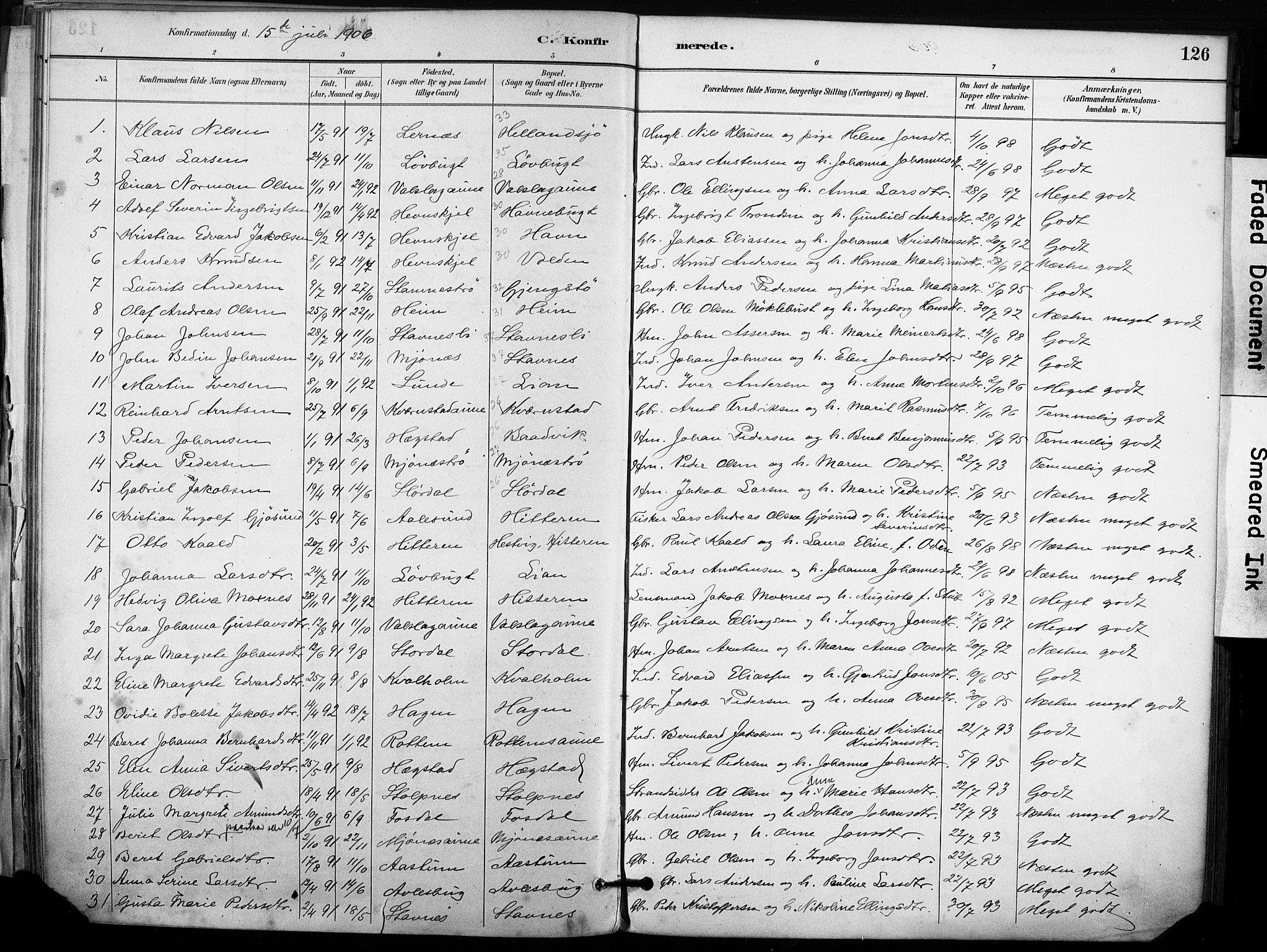 SAT, Ministerialprotokoller, klokkerbøker og fødselsregistre - Sør-Trøndelag, 633/L0518: Ministerialbok nr. 633A01, 1884-1906, s. 126