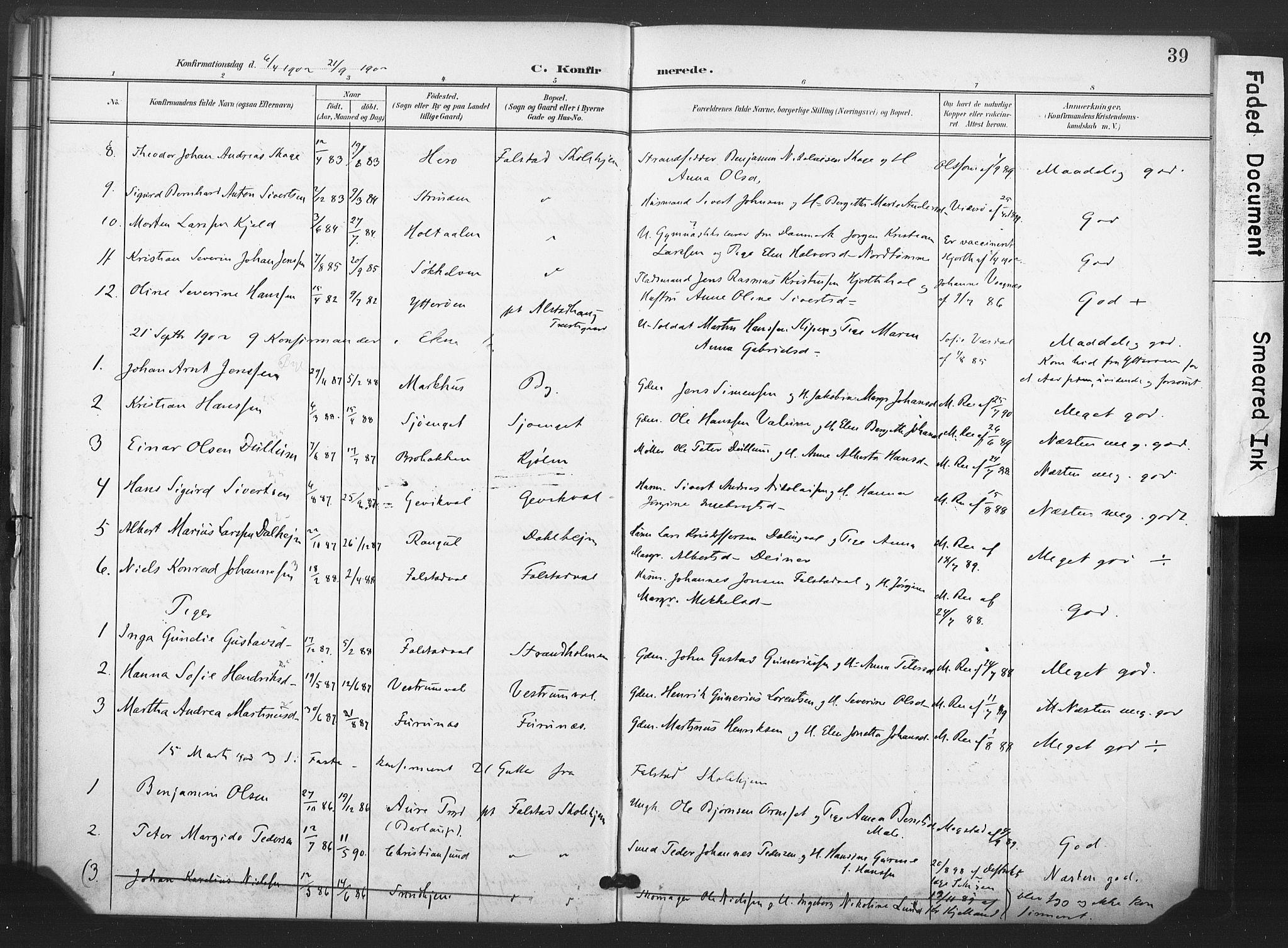 SAT, Ministerialprotokoller, klokkerbøker og fødselsregistre - Nord-Trøndelag, 719/L0179: Ministerialbok nr. 719A02, 1901-1923, s. 39