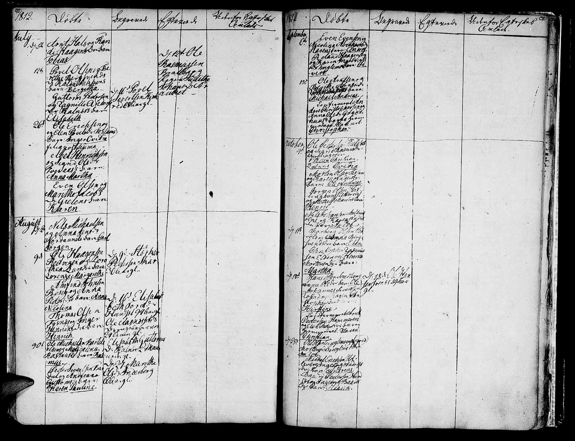 SAT, Ministerialprotokoller, klokkerbøker og fødselsregistre - Nord-Trøndelag, 741/L0386: Ministerialbok nr. 741A02, 1804-1816, s. 50-51