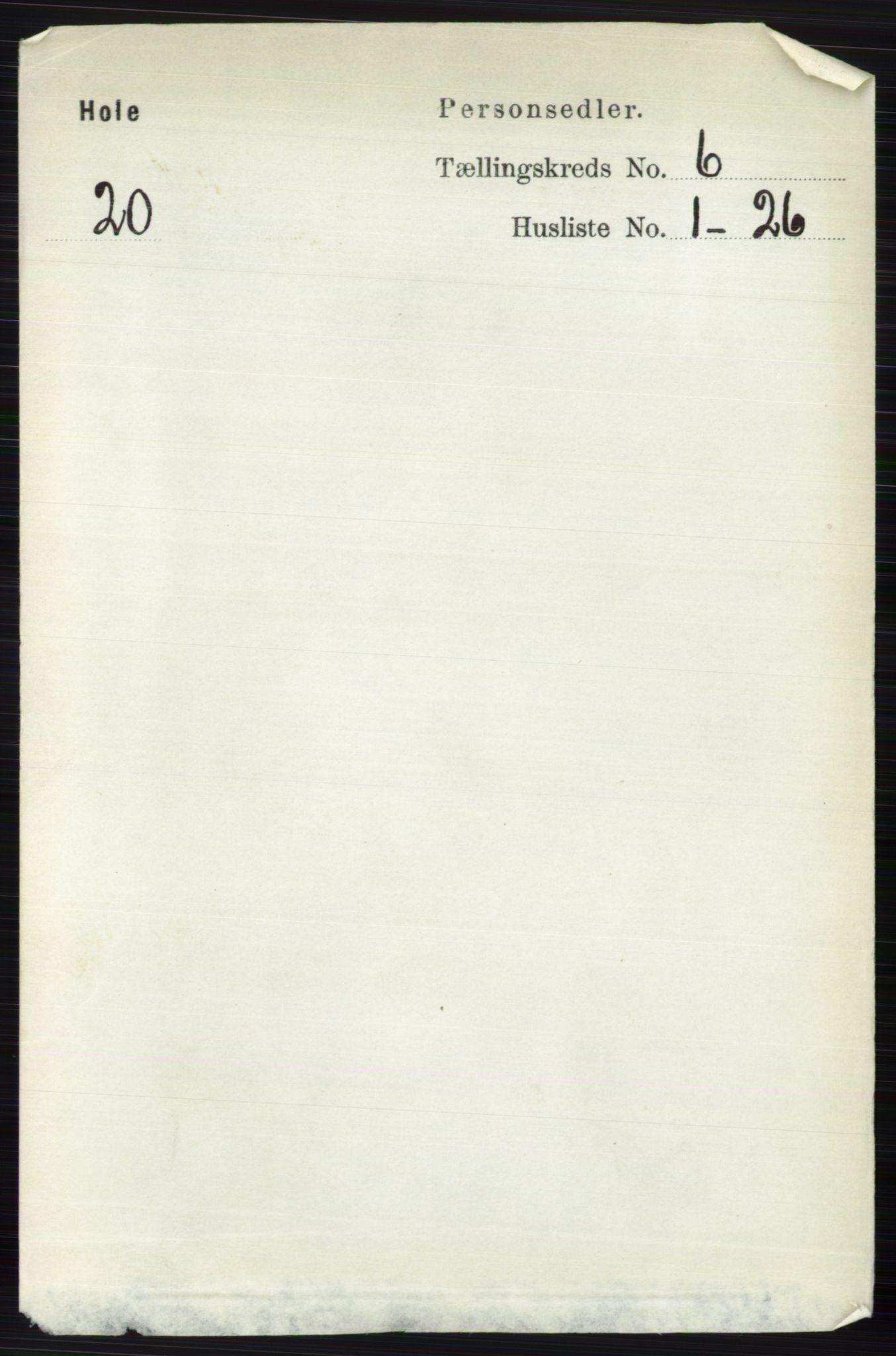 RA, Folketelling 1891 for 0612 Hole herred, 1891, s. 3103