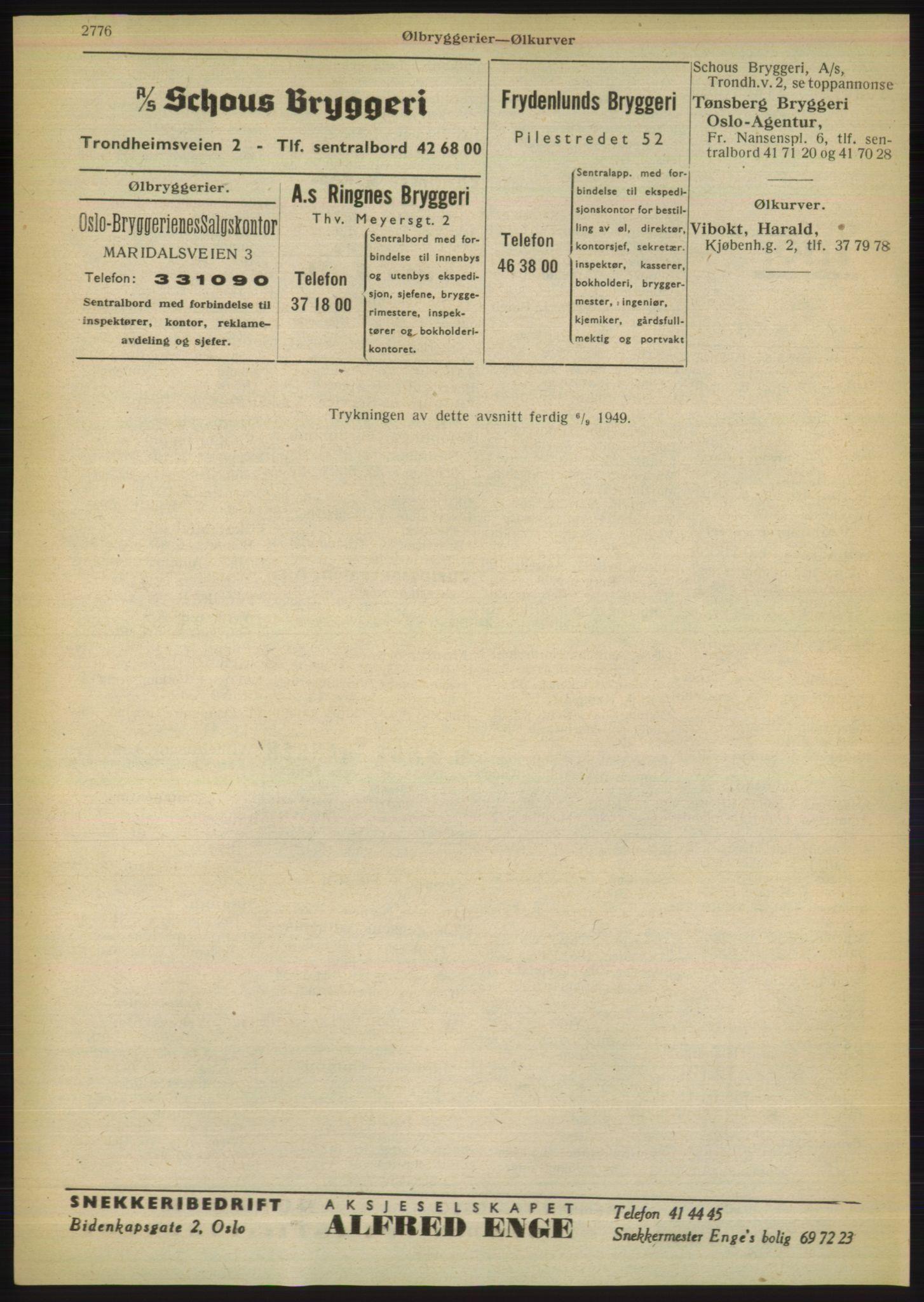 RA, Oslo adressebok (publikasjon)*, 1949, s. 2776