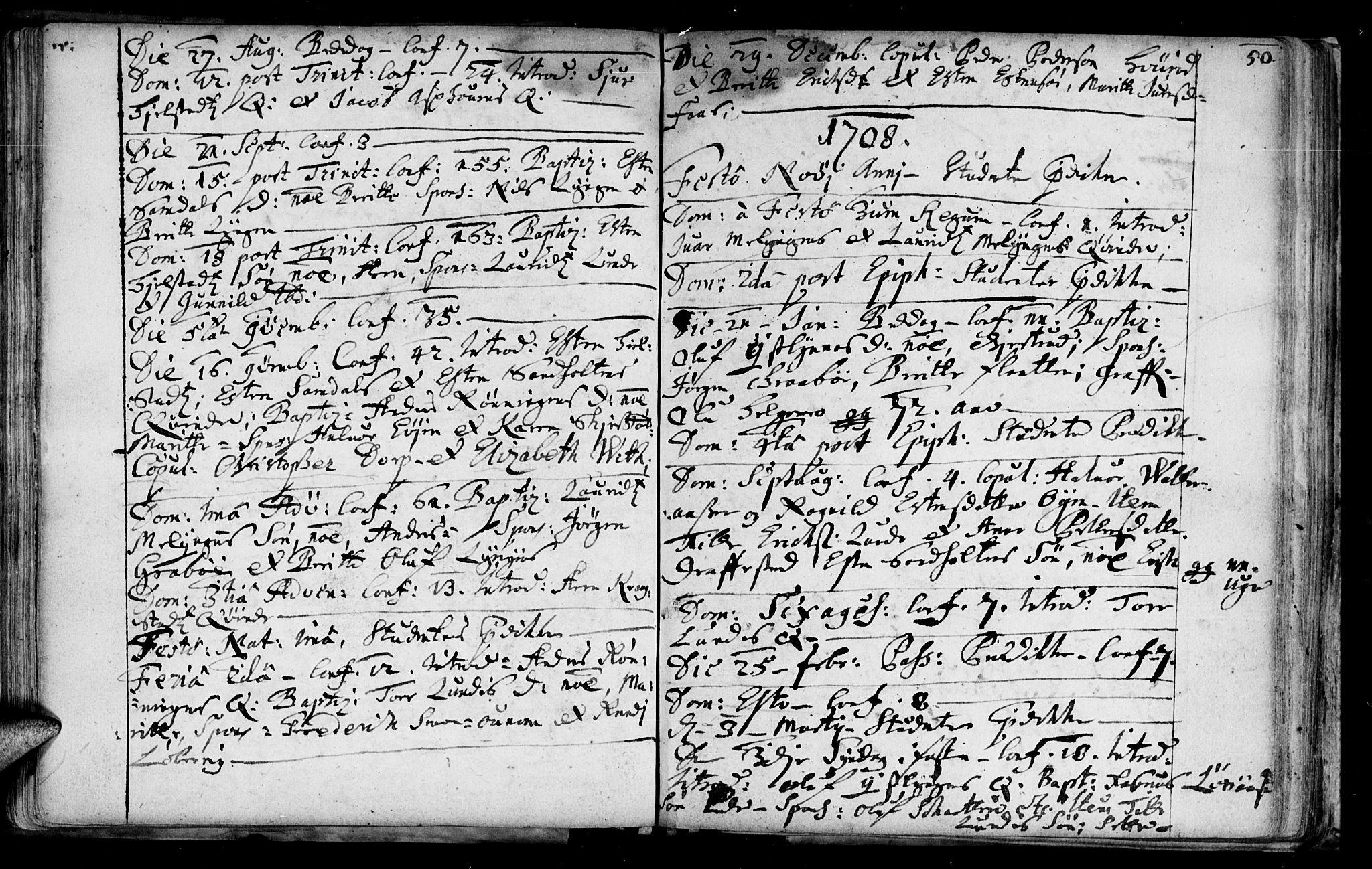 SAT, Ministerialprotokoller, klokkerbøker og fødselsregistre - Sør-Trøndelag, 692/L1101: Ministerialbok nr. 692A01, 1690-1746, s. 50