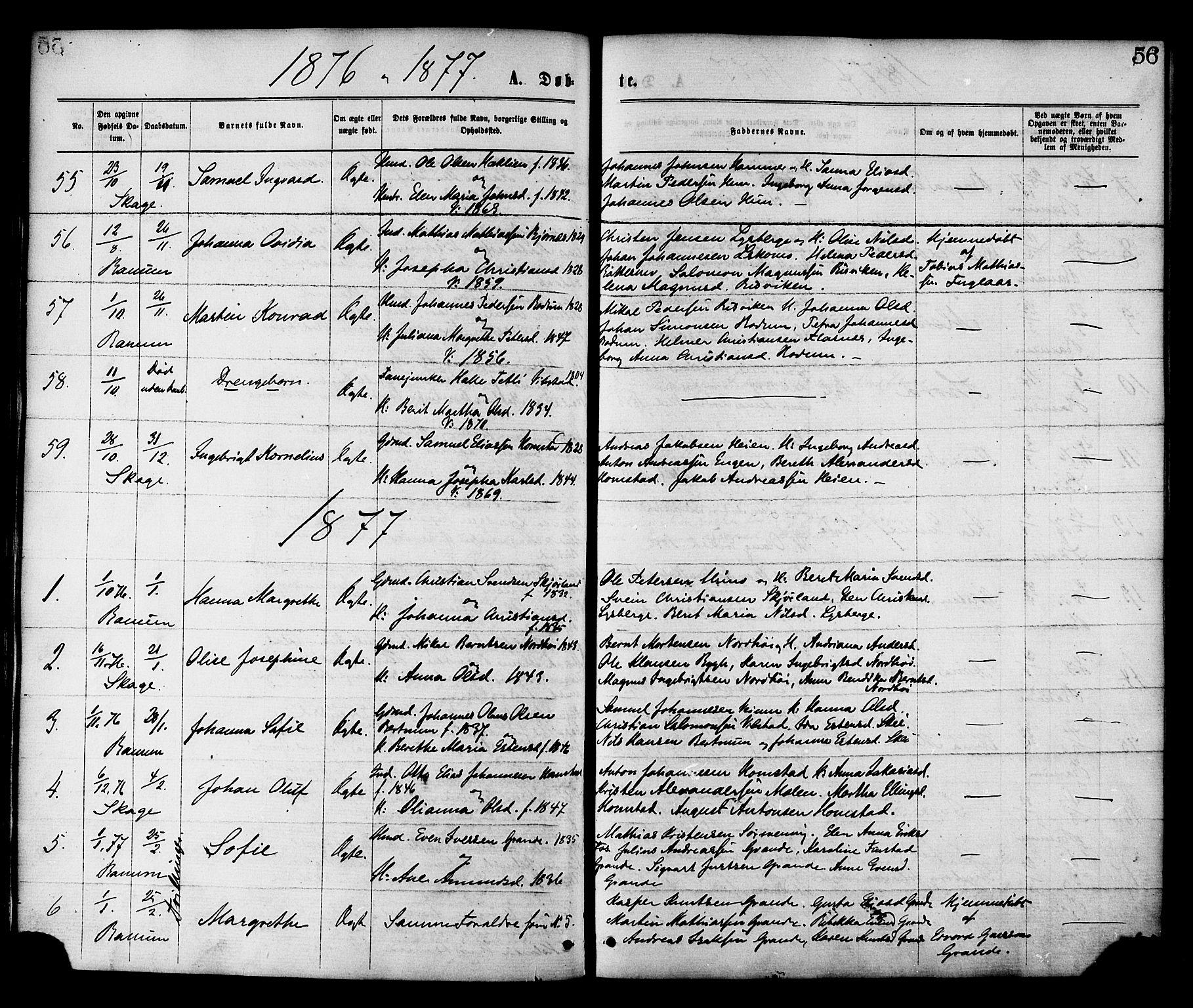 SAT, Ministerialprotokoller, klokkerbøker og fødselsregistre - Nord-Trøndelag, 764/L0554: Ministerialbok nr. 764A09, 1867-1880, s. 56