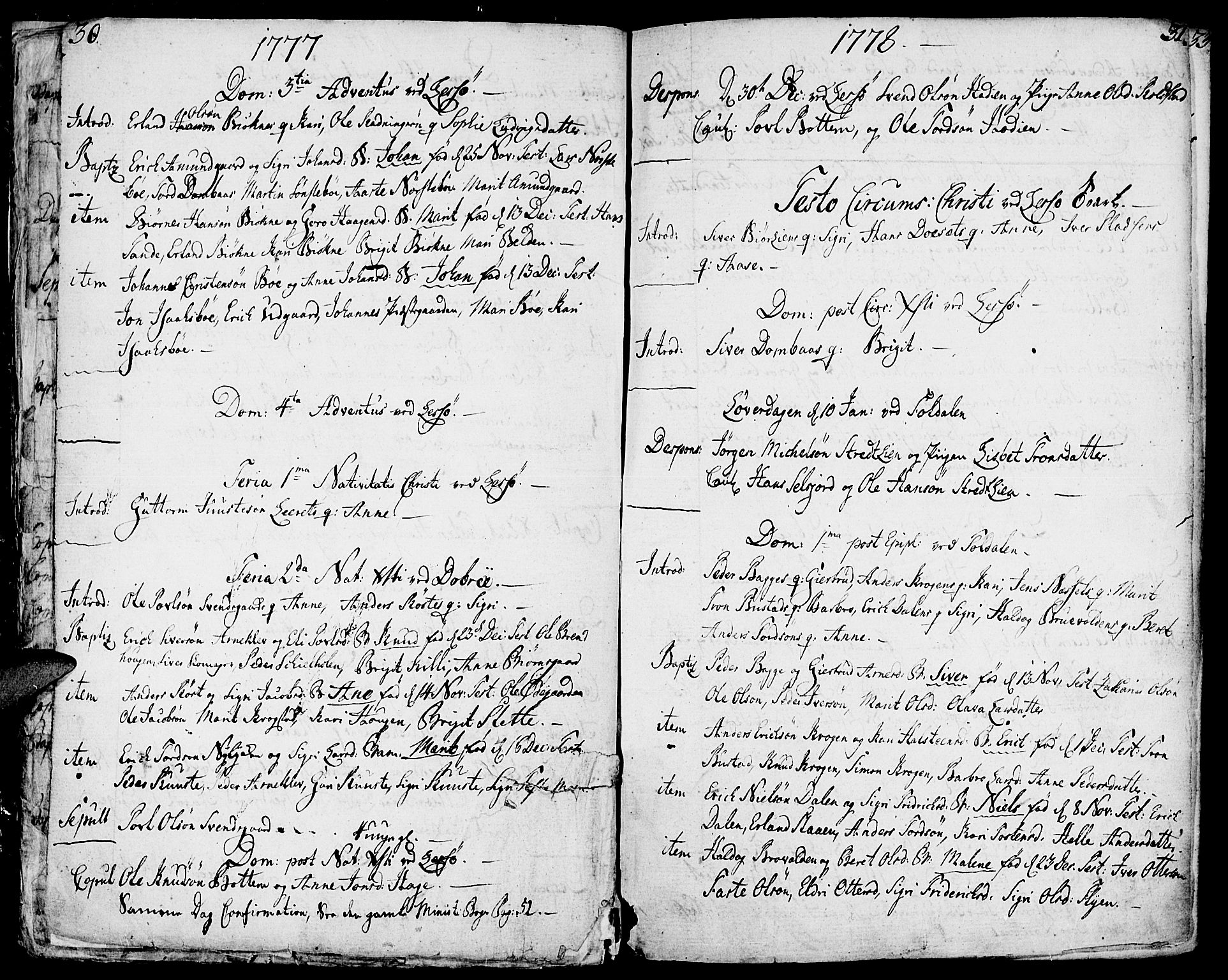 SAH, Lesja prestekontor, Ministerialbok nr. 3, 1777-1819, s. 30-31