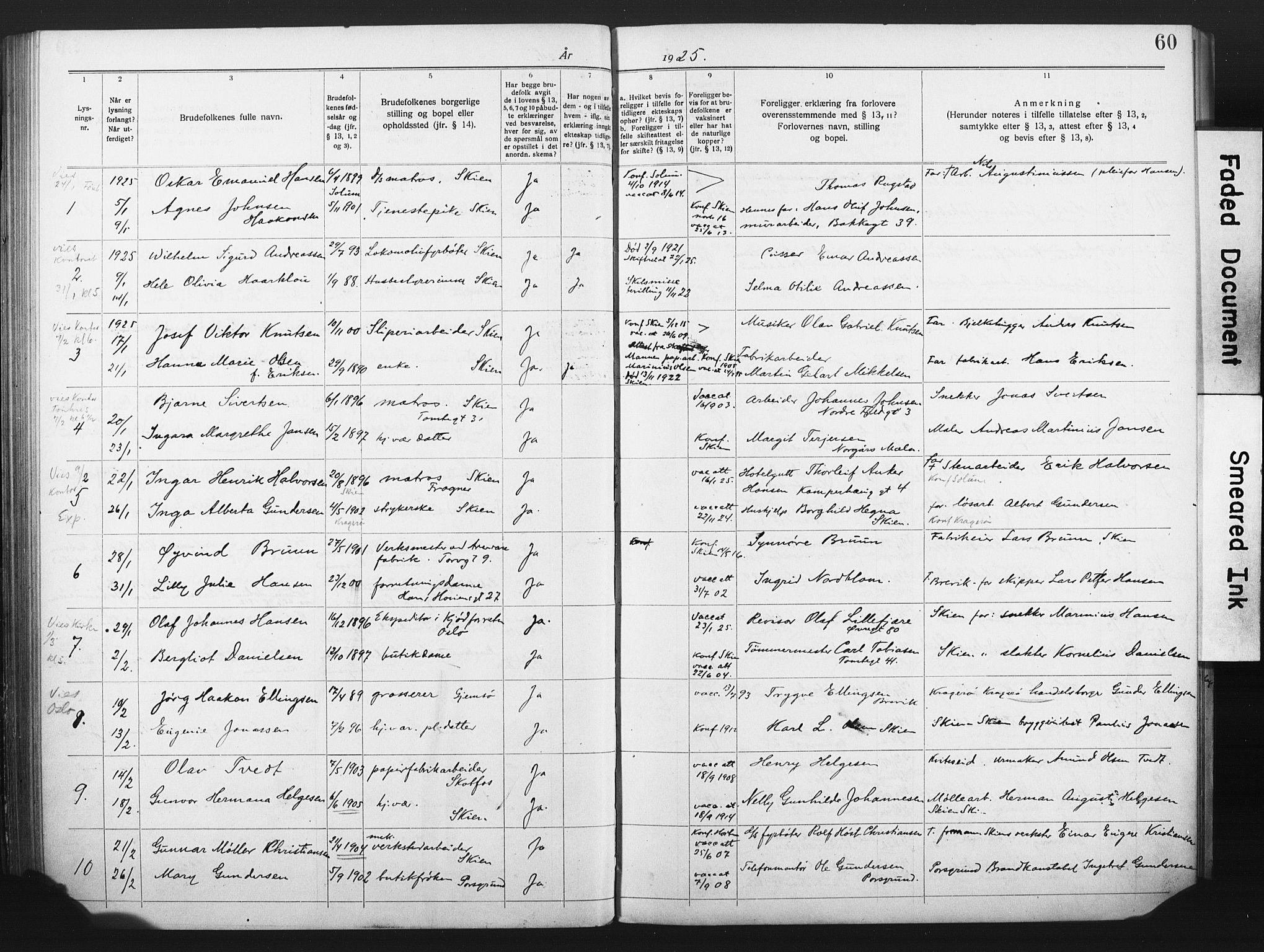 SAKO, Skien kirkebøker, H/Ha/L0001: Lysningsprotokoll nr. 1, 1919-1929, s. 60