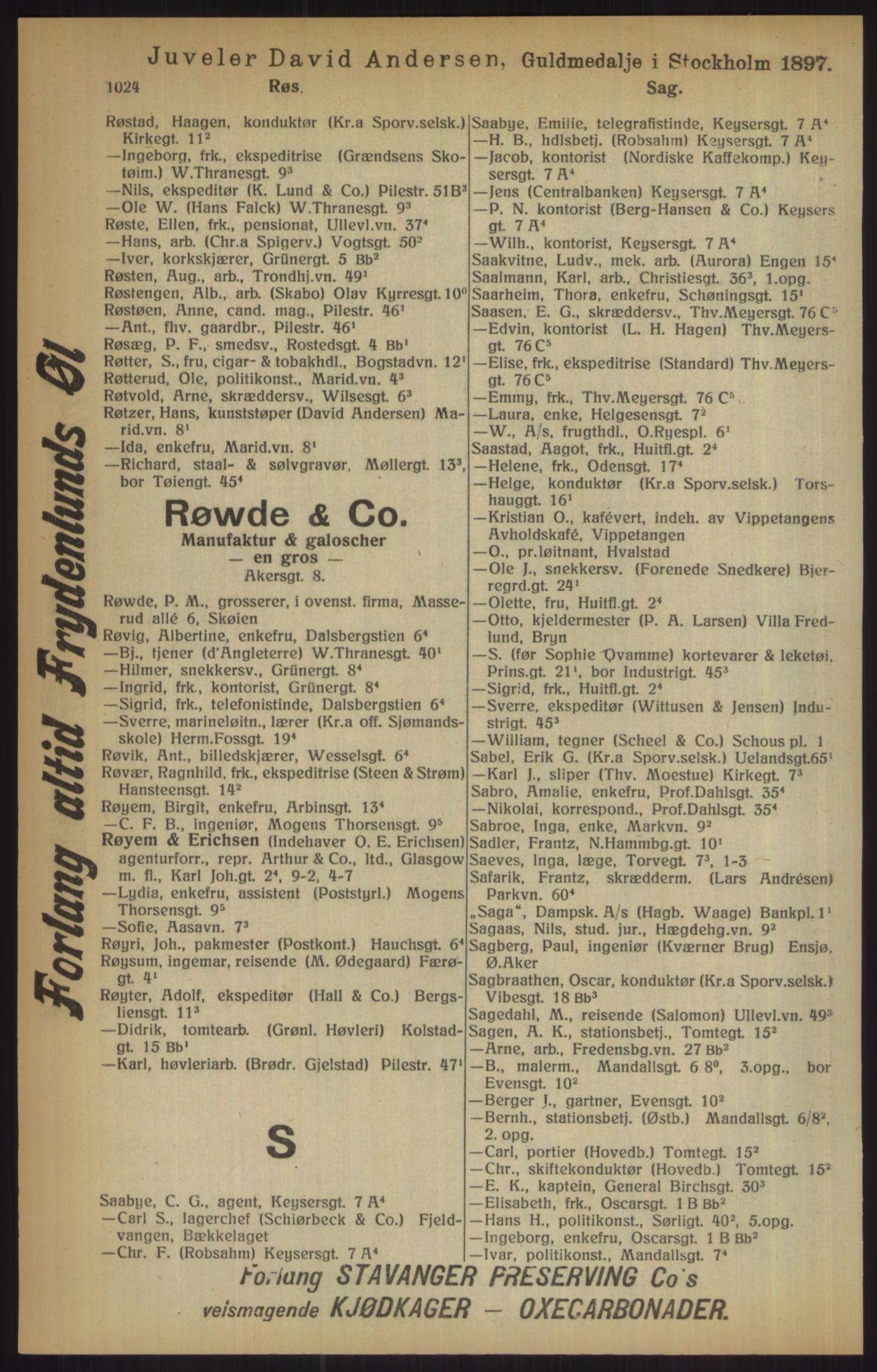 RA, Kristiania adressebok (publikasjon)*, 1915, s. 1024