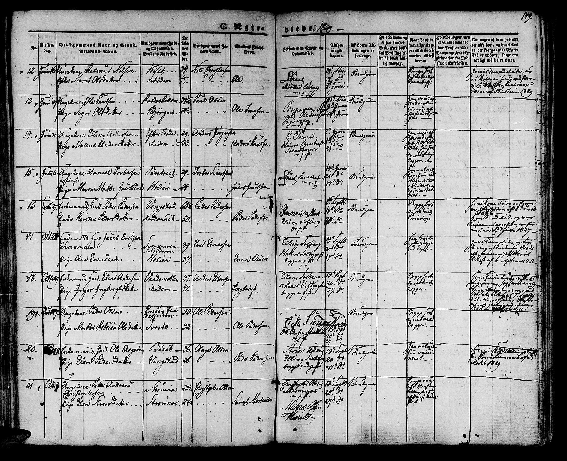 SAT, Ministerialprotokoller, klokkerbøker og fødselsregistre - Nord-Trøndelag, 741/L0390: Ministerialbok nr. 741A04, 1822-1836, s. 149