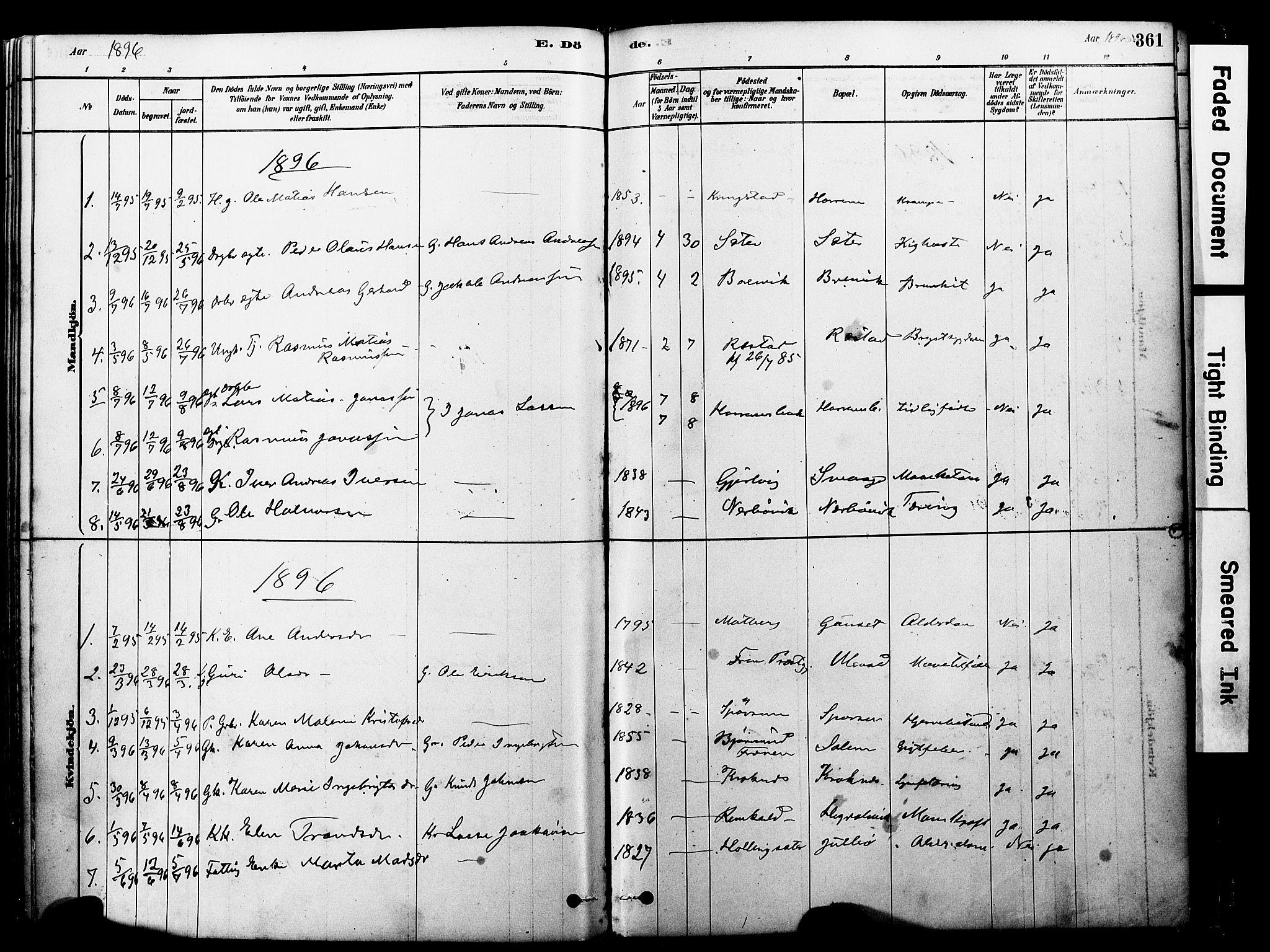 SAT, Ministerialprotokoller, klokkerbøker og fødselsregistre - Møre og Romsdal, 560/L0721: Ministerialbok nr. 560A05, 1878-1917, s. 361