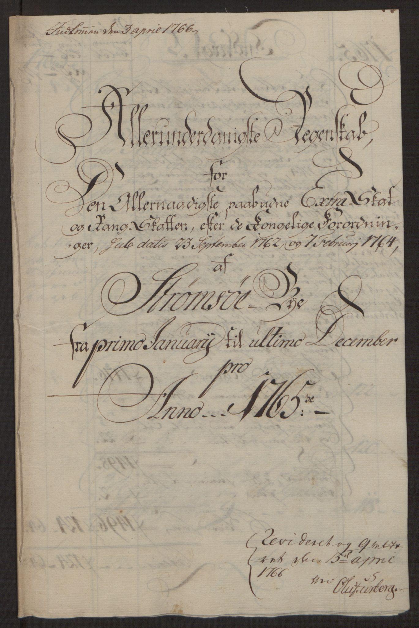 RA, Rentekammeret inntil 1814, Reviderte regnskaper, Byregnskaper, R/Rg/L0144: [G4] Kontribusjonsregnskap, 1762-1767, s. 323
