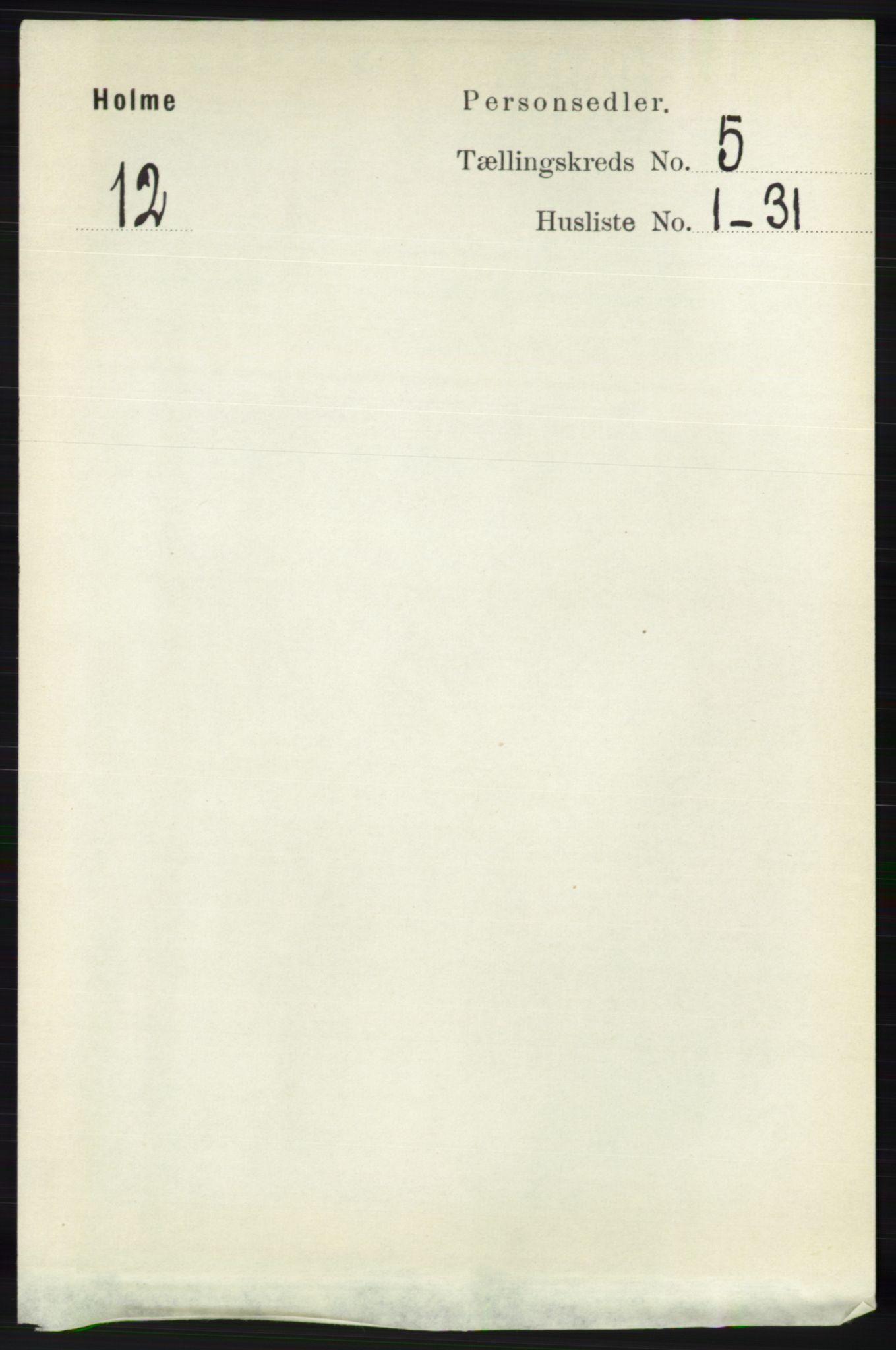 RA, Folketelling 1891 for 1020 Holum herred, 1891, s. 1235