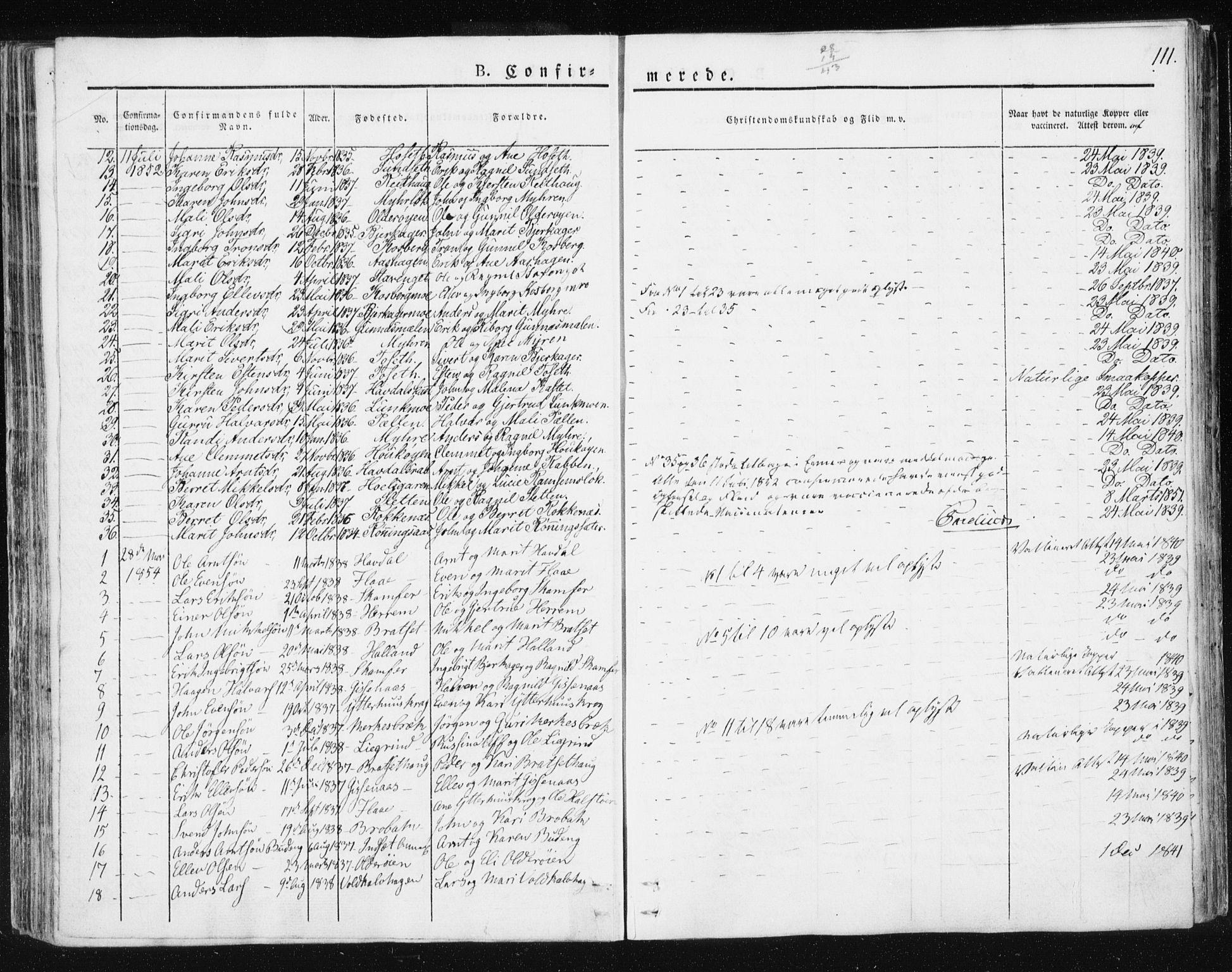 SAT, Ministerialprotokoller, klokkerbøker og fødselsregistre - Sør-Trøndelag, 674/L0869: Ministerialbok nr. 674A01, 1829-1860, s. 111